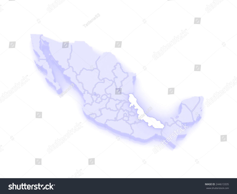 Map Veracruz Mexico 3d Stock Illustration 244613335 Shutterstock