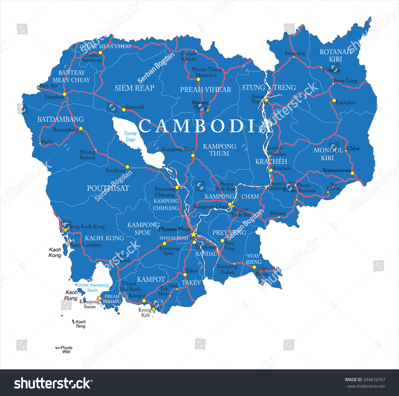 Cambodia Map Stock Vector Shutterstock - Cambodia map