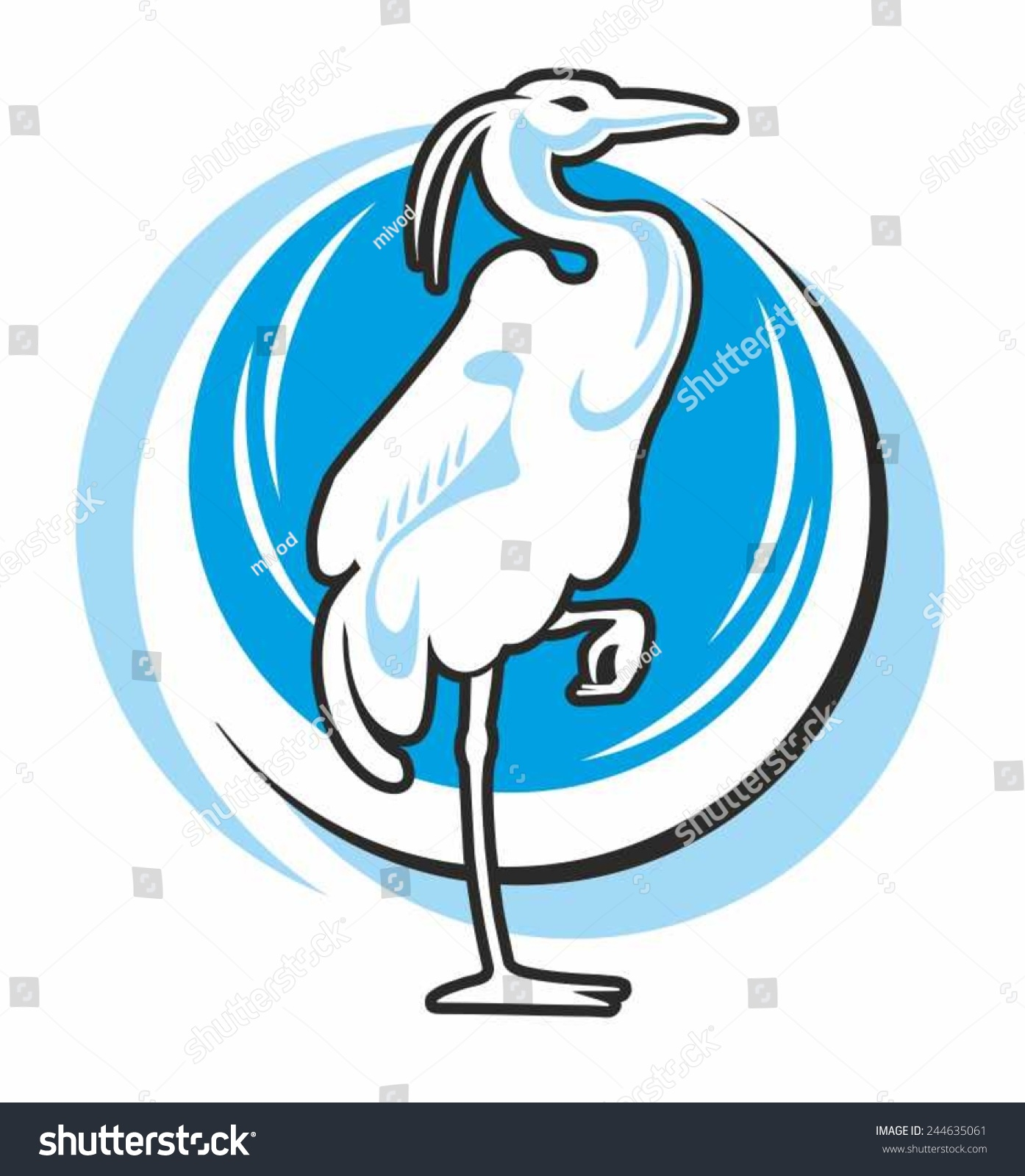 heron wading egret silhouette bird on stock vector 244635061