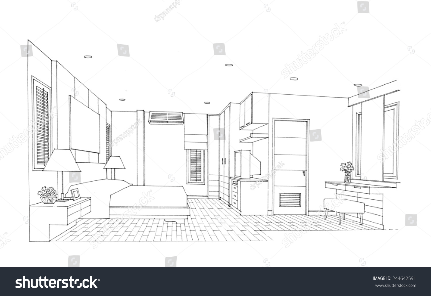 Interior Sketch Of Bedroom Stock Photo 244642591