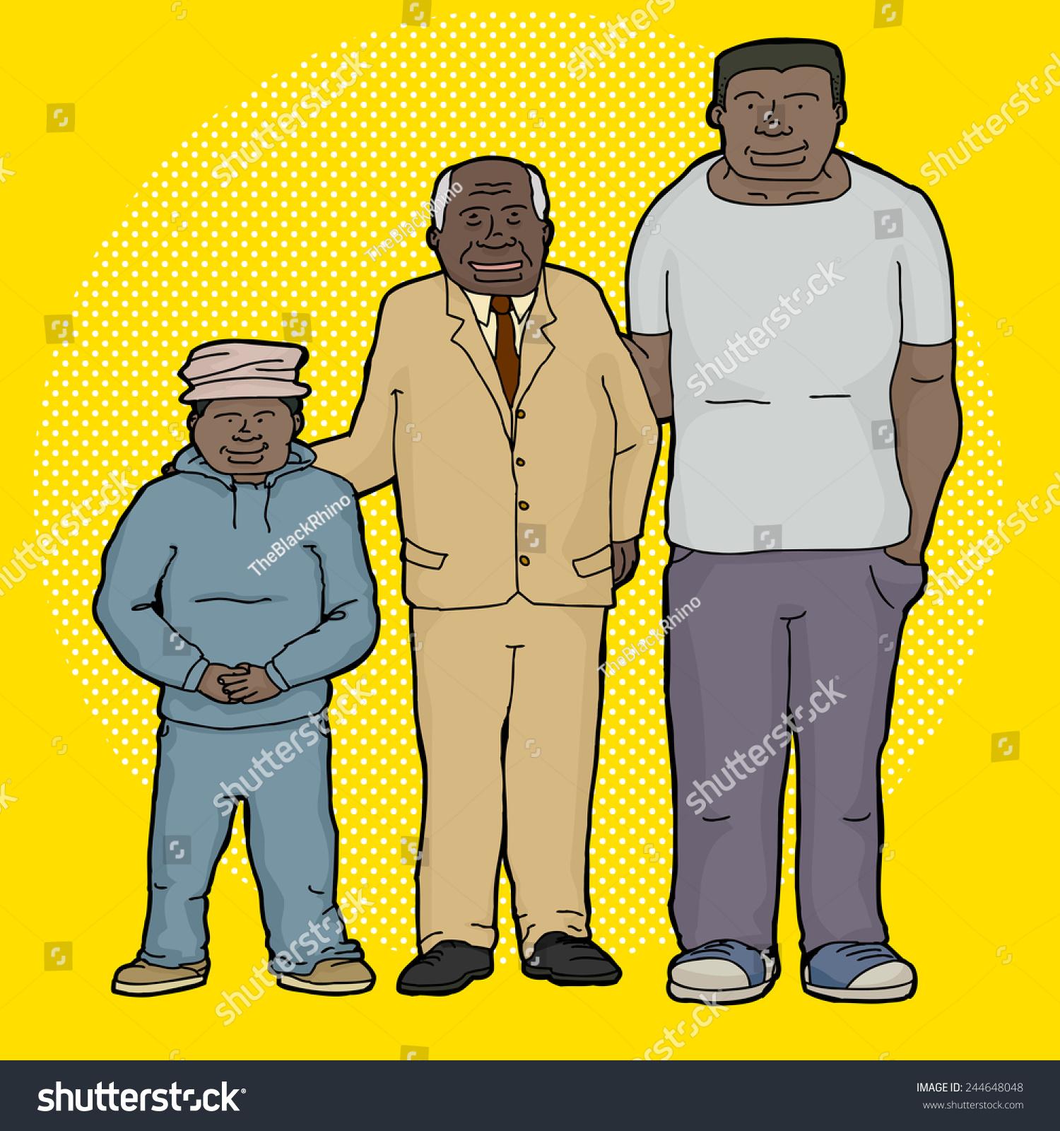 Three Generations Family Cartoon Over Yellow Stock Vector Royalty Free 244648048