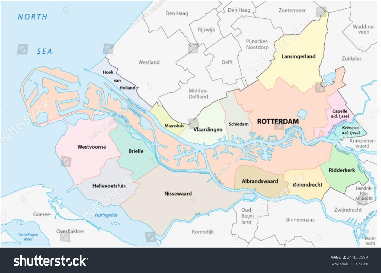 Region rotterdam administrative map stock vector 244652599 region rotterdam administrative map sciox Gallery