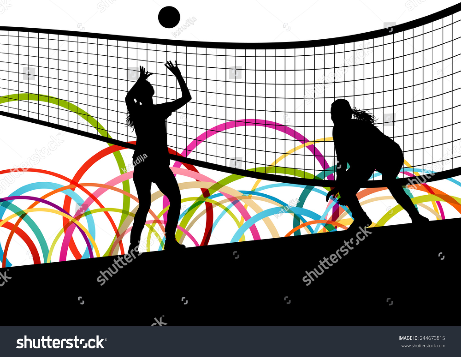 Illustration Abstract Volleyball Player Silhouette: Active Young Women Volleyball Player Sport Stock Vector