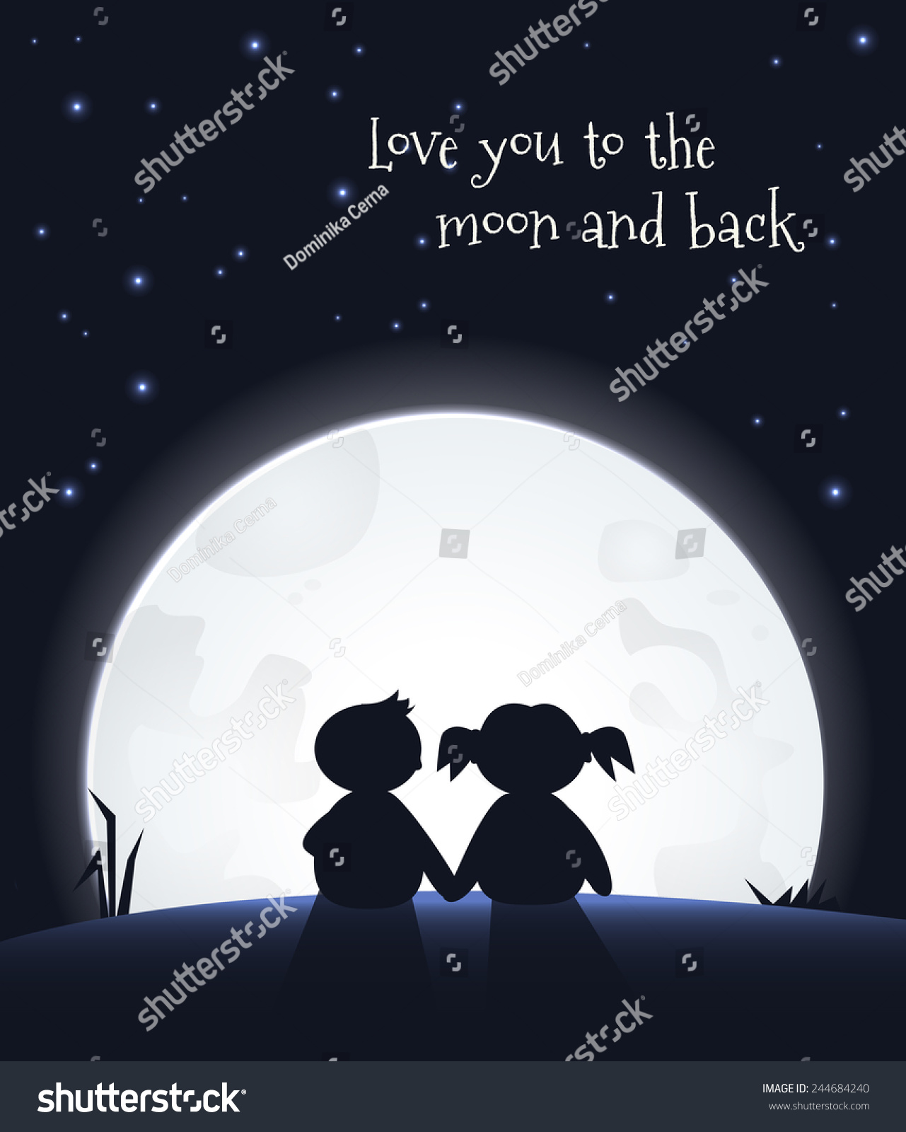 Love You Moon Back Love You Moon Romantic Quote Romantic Stock