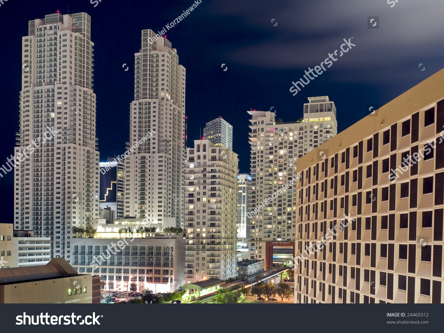 Apartment Complex In Downtown Miami At Night, Florida ...