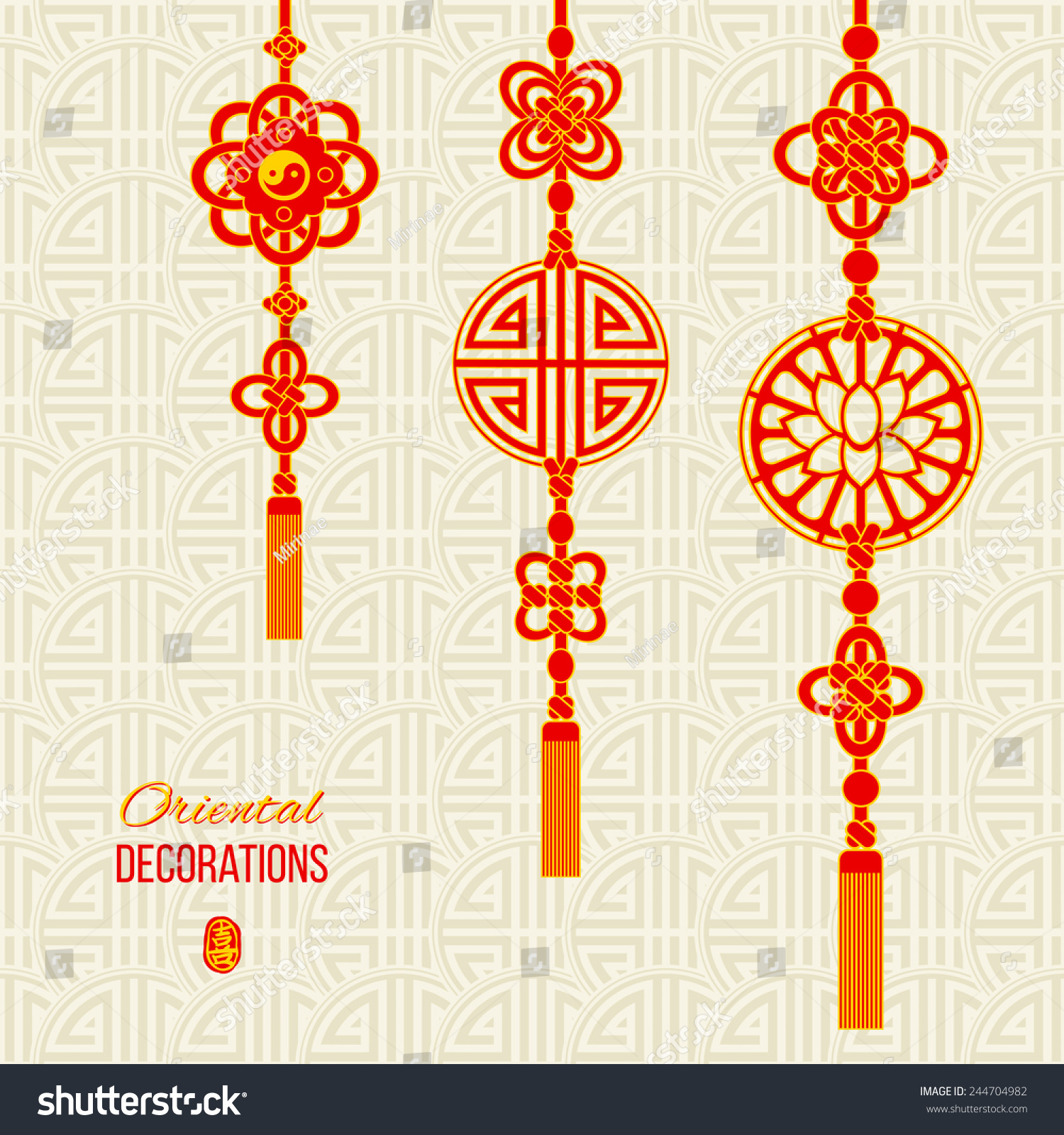 Royalty free oriental asian red and golden tassel 244704982 lotus image yin yang symbol and knot elements stamp with a chinese hieroglyph for joy asian seamless background with knot compositions biocorpaavc Images