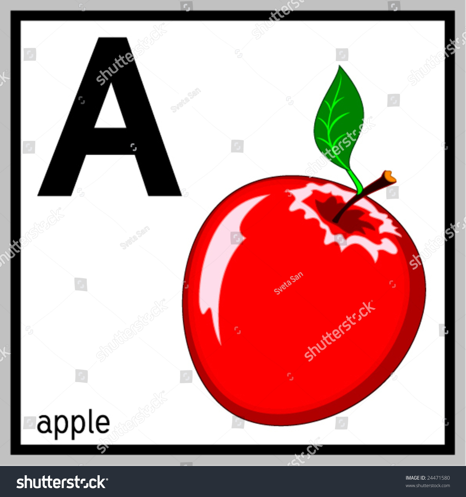 Vector Illustration Apple English Letter A Stock Vector