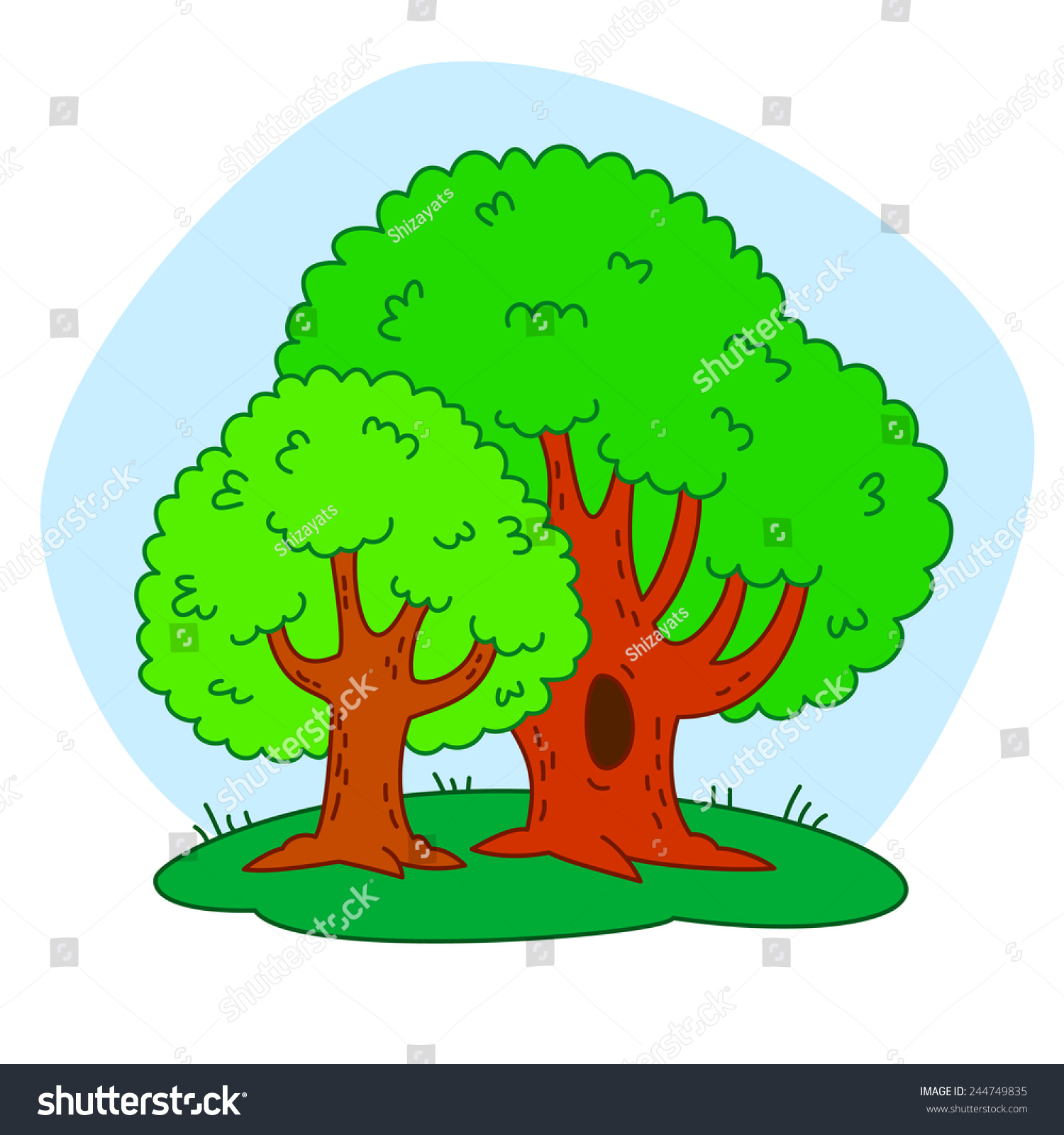Vector Illustration Two Trees Coloring Book Stock Vector 244749835 ...