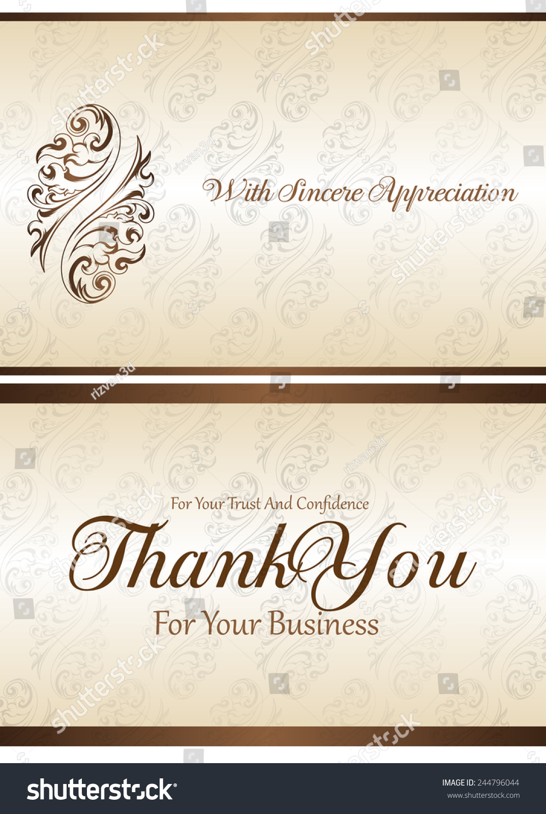 Thank You You Business Card Stock Vector 244796044 - Shutterstock