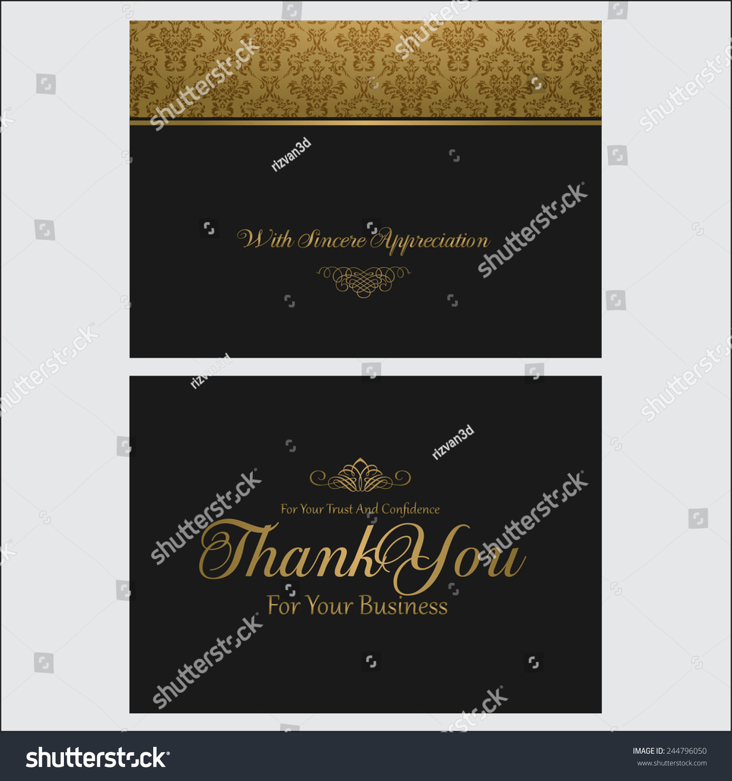 Thank You You Business Card Stock Vector 244796050 - Shutterstock