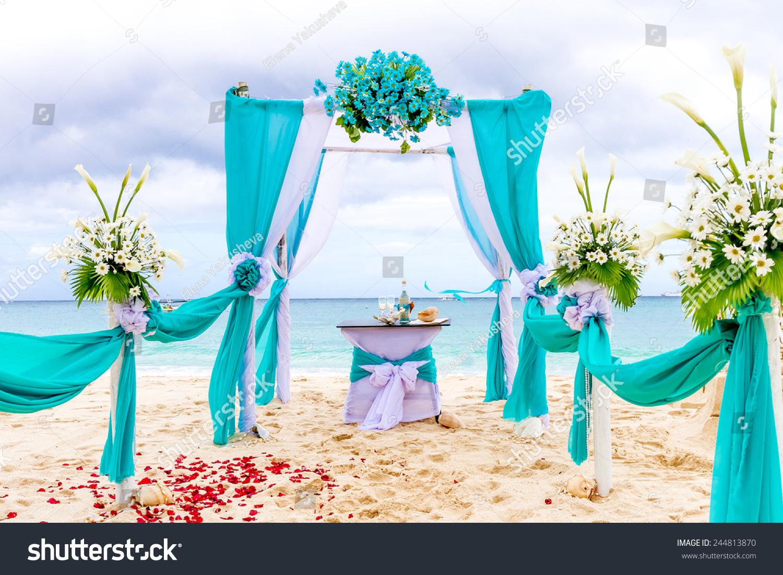 Beautiful Wedding Arch Cabana On Sand Stock Photo