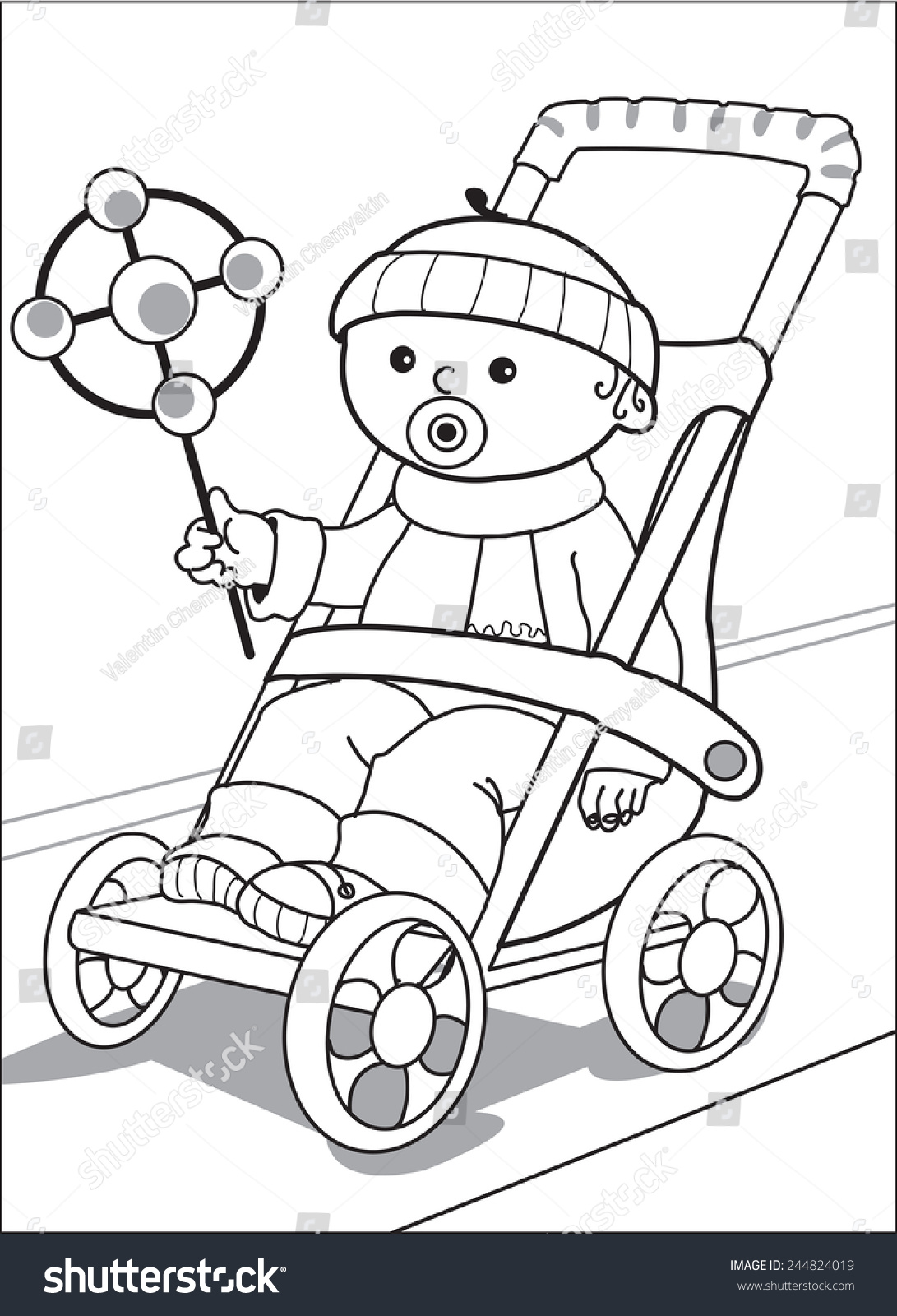 baby in stroller little boy dressed in a sweater cap scarf and trousers