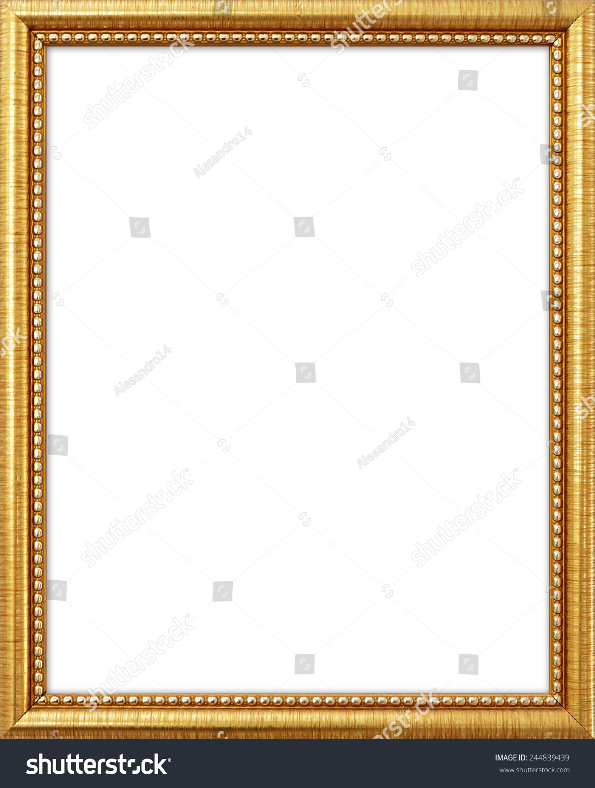 gold frame goldgilded arts and crafts pattern picture frame isolated on white