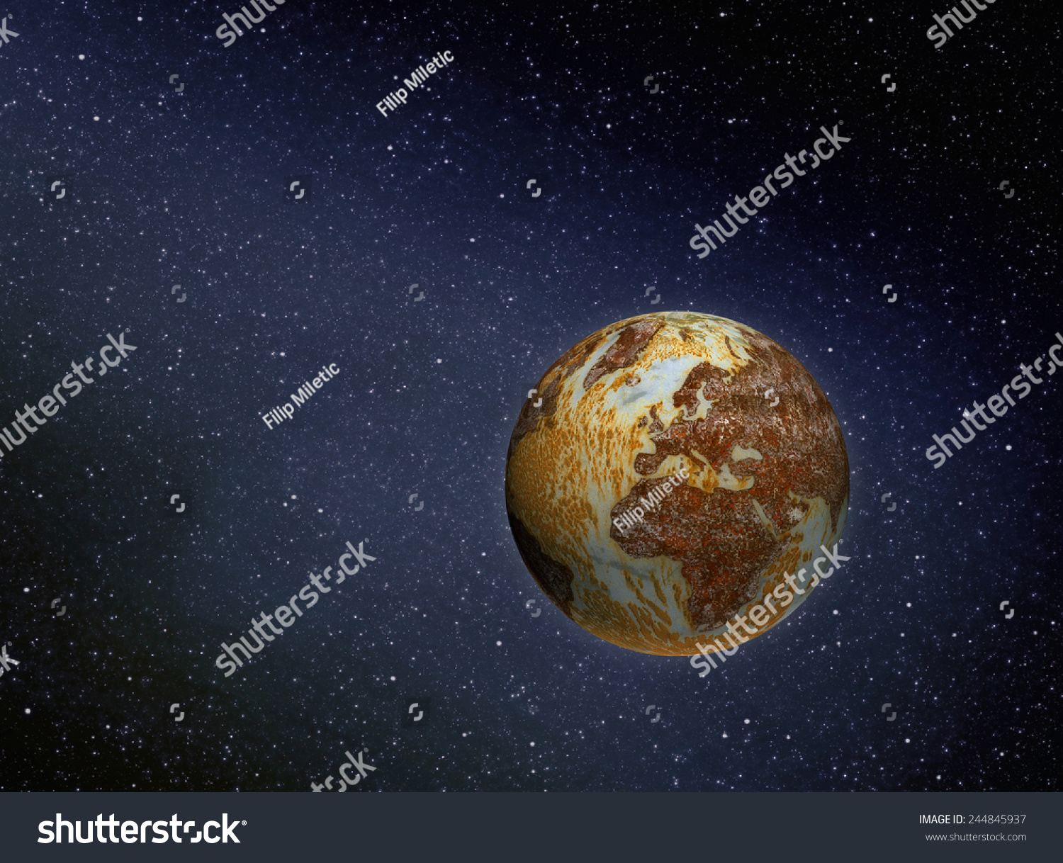 Illustration Of Rusty Polluted Planet Earth In Space ...