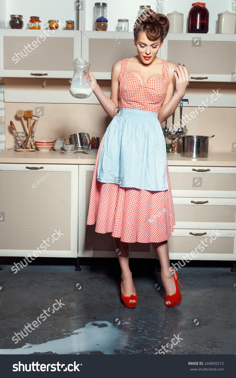 Woman Standing Kitchen Looks Floor On Stock Photo 244850215 ...