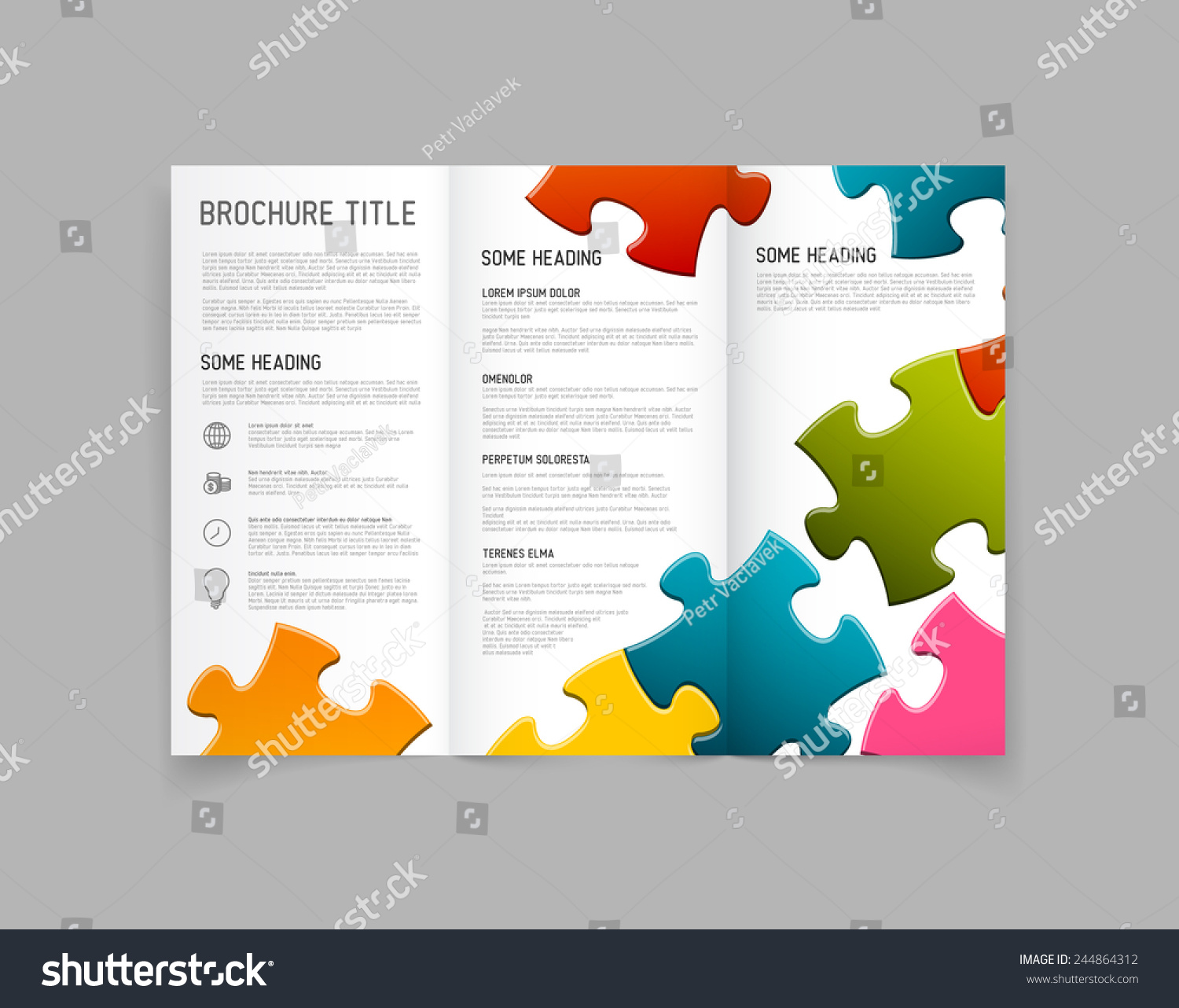 ... fold brochure / leaflet / flyer design template with puzzle pieces