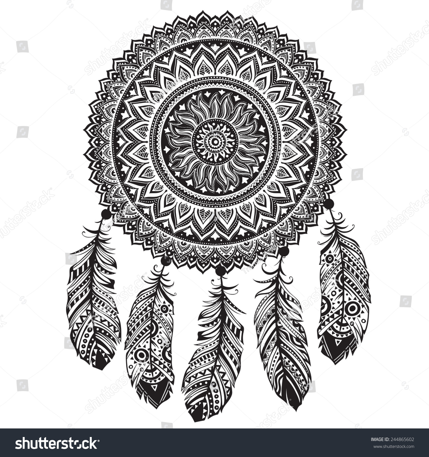 Ethnic American Indian Dream Catcher Can Stock Illustration
