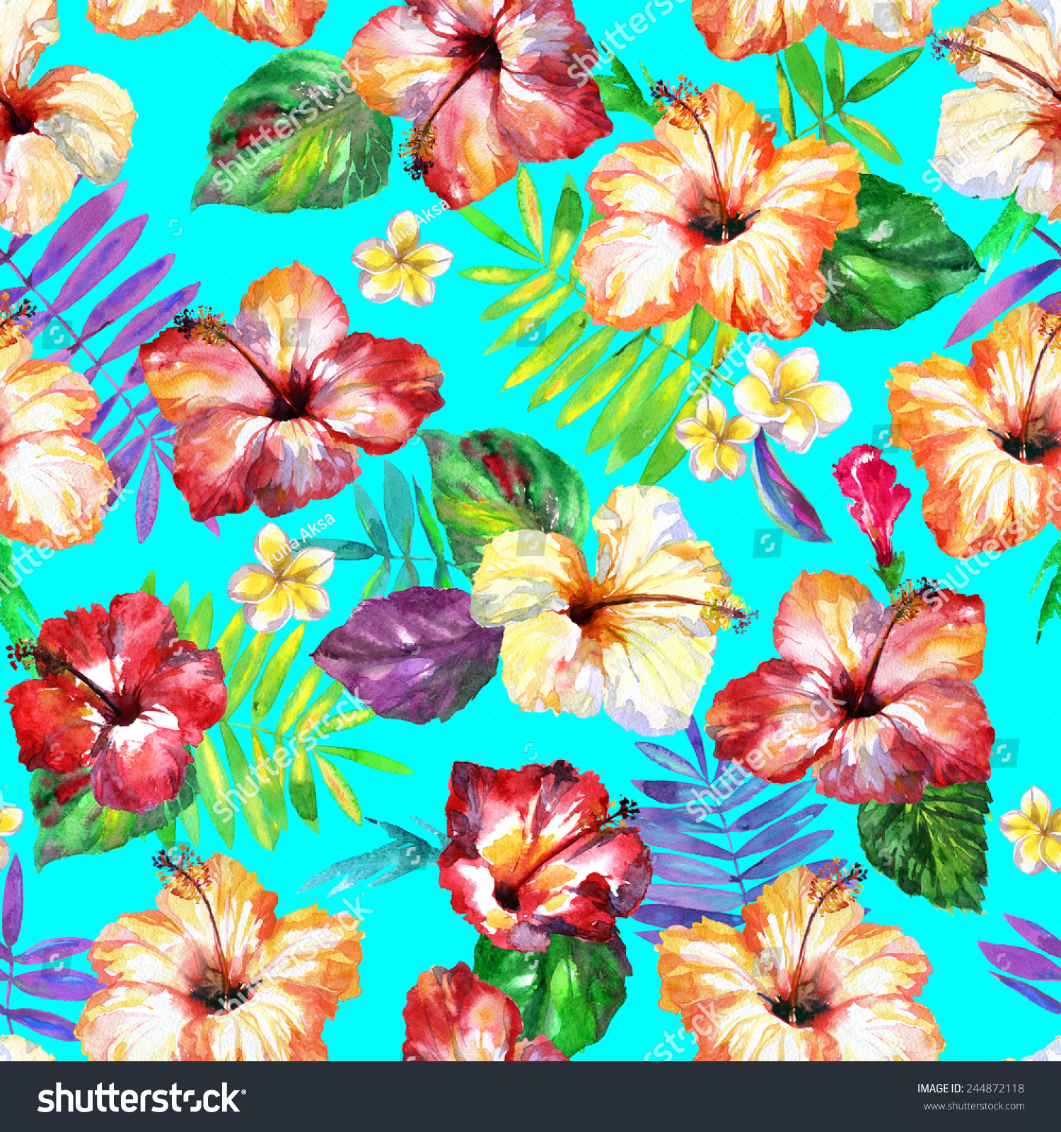 Seamless Flowers Pattern Spring Seamless Watercolor Illustration