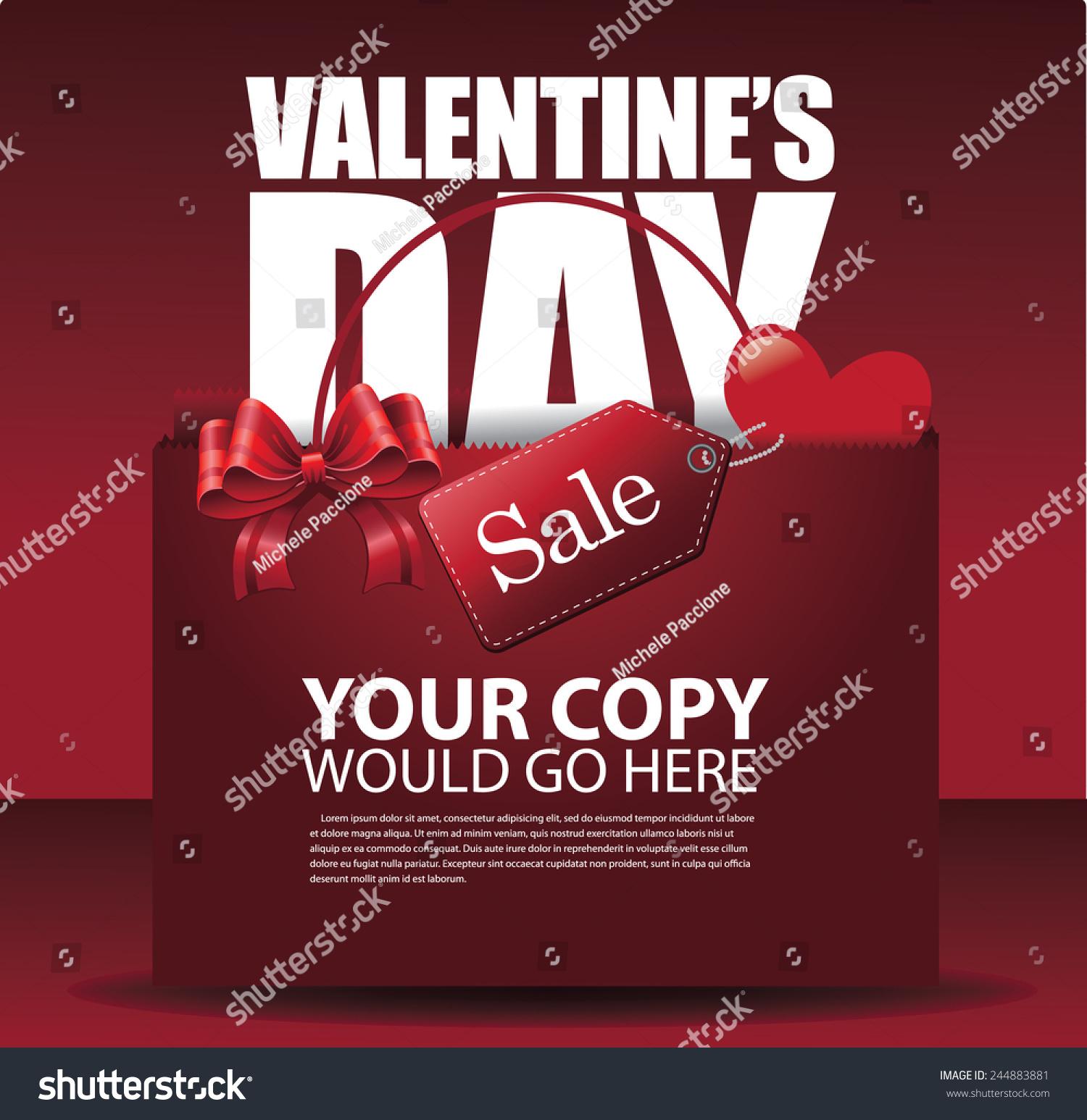 Valentines Day Sale Shopping Bag Background Stock-vektorgrafik ...