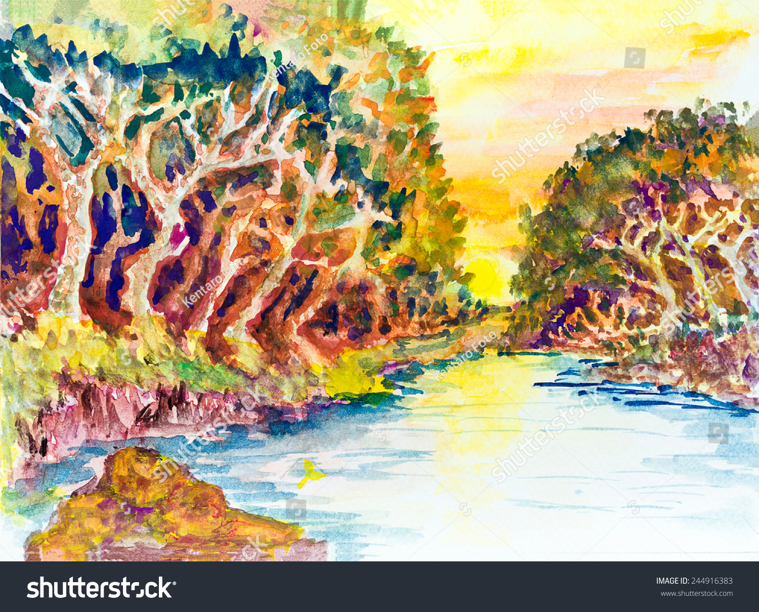 Watercolor Painting Landscape Sunset On The River And Forest