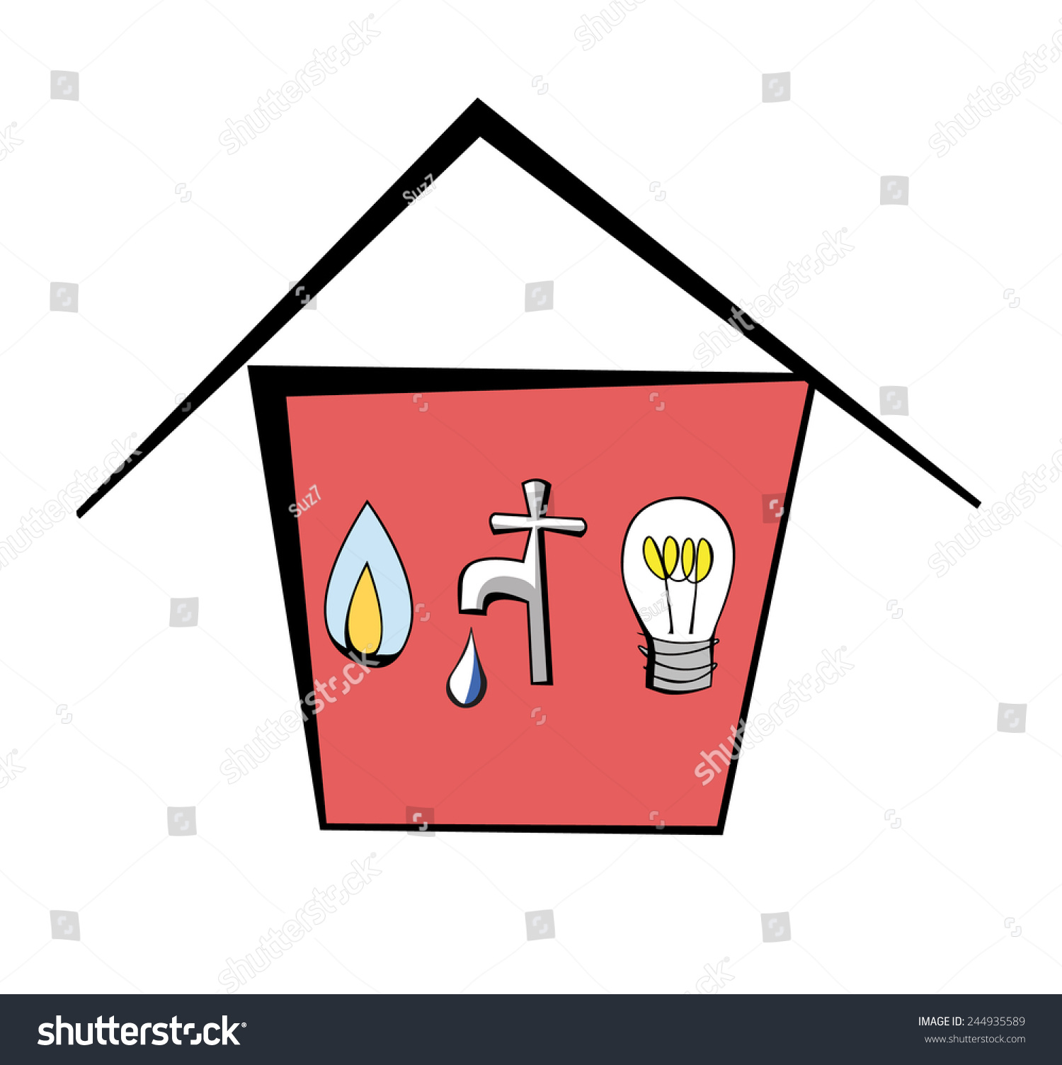 Cartoon Electricity Symbols Free Download Alternatingcurrentdiagram Alternating Current Vs House Containing Gas Water Stock