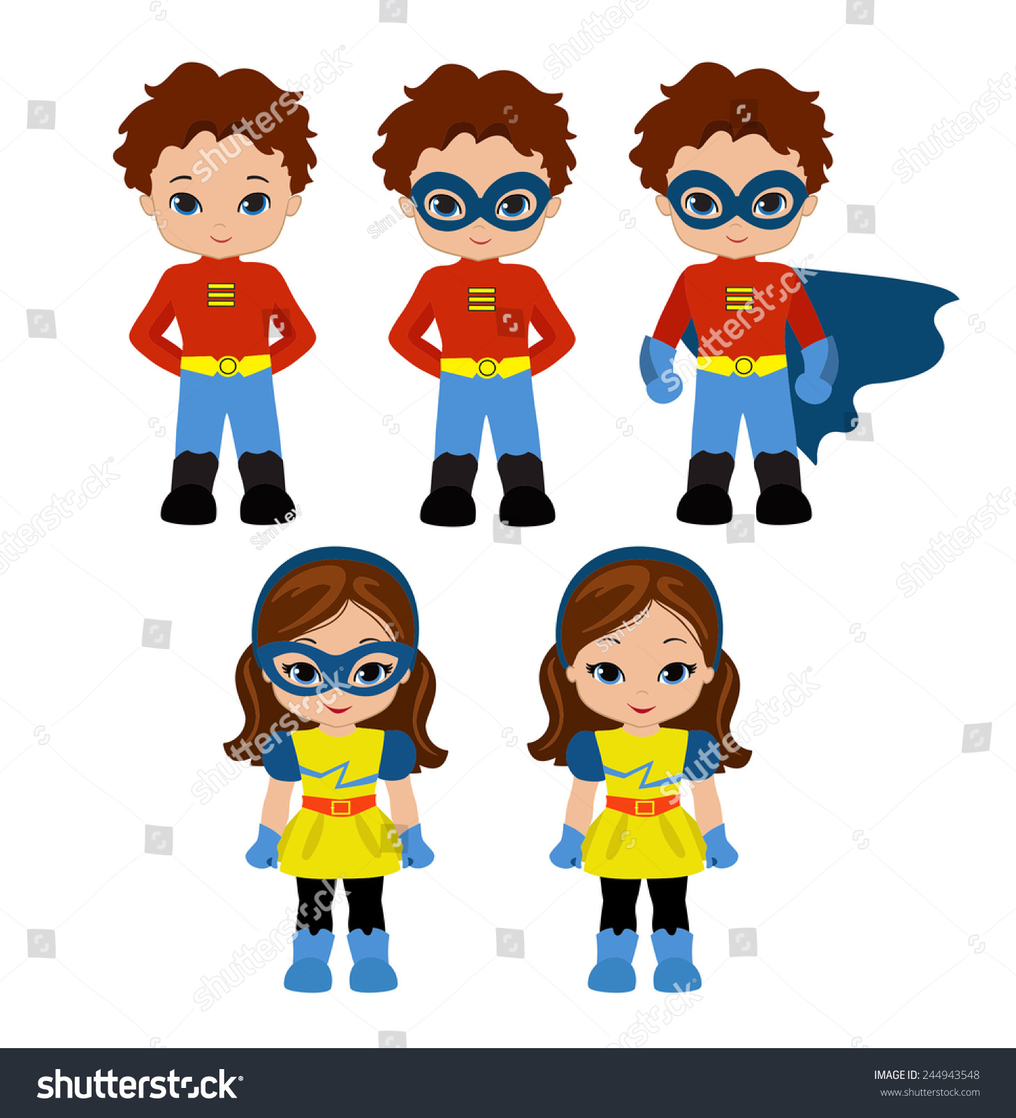 Cute superhero girl boy vector clip 244943548 cute superhero girl and boy vector clip art set super girl and super boy voltagebd Image collections