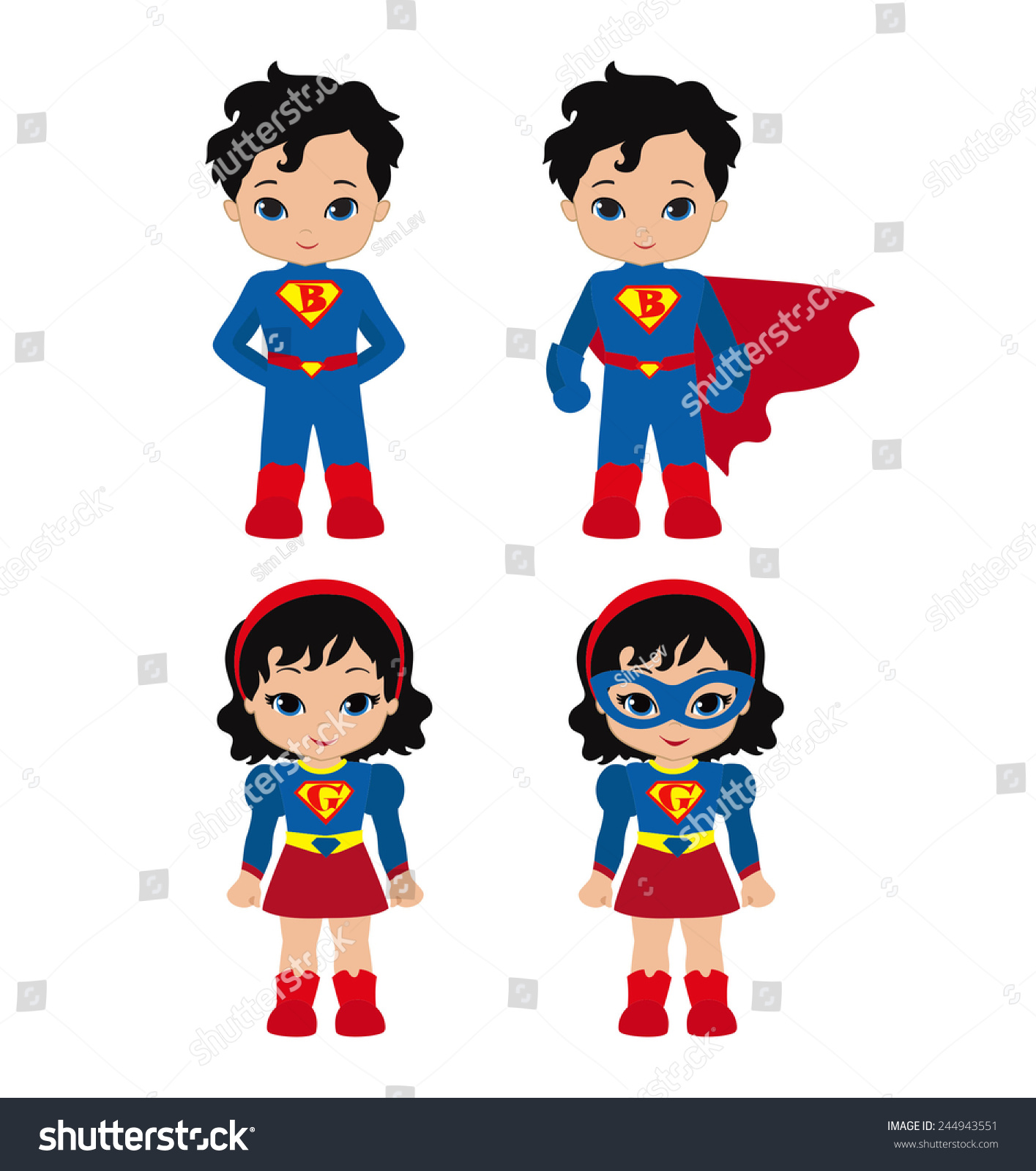Superhero Art For Little Boys: Cute Superhero Girl Boy Vector Clip Stock Vector 244943551
