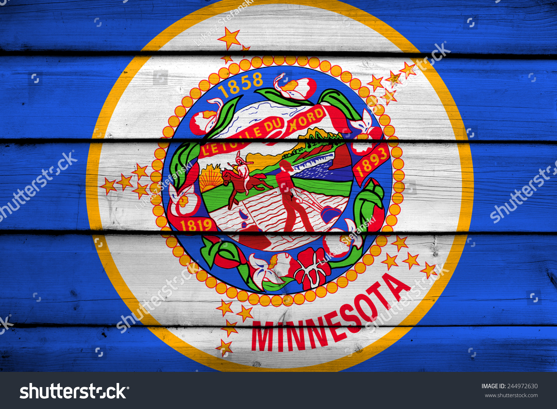 Minnesota State Flag On Wood Background Stock Illustration 244972630