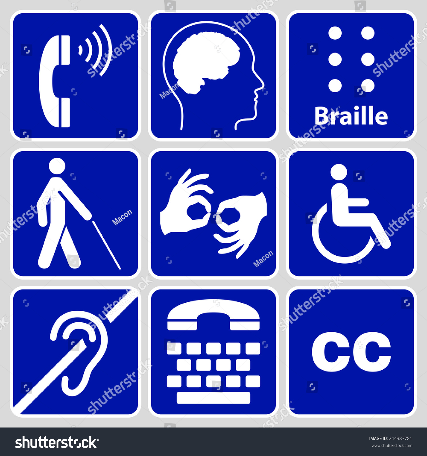 Blue Disability Symbols Signs Collection May Stock Vector Royalty