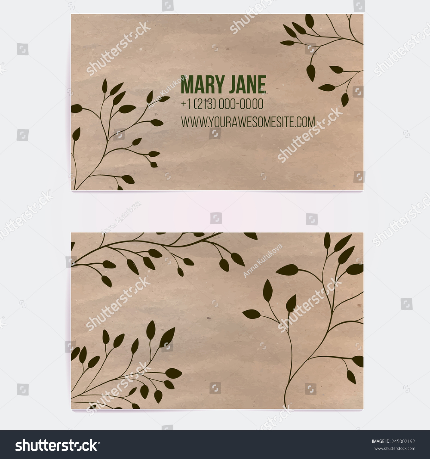 two sided business card natural cosmetics stock vector
