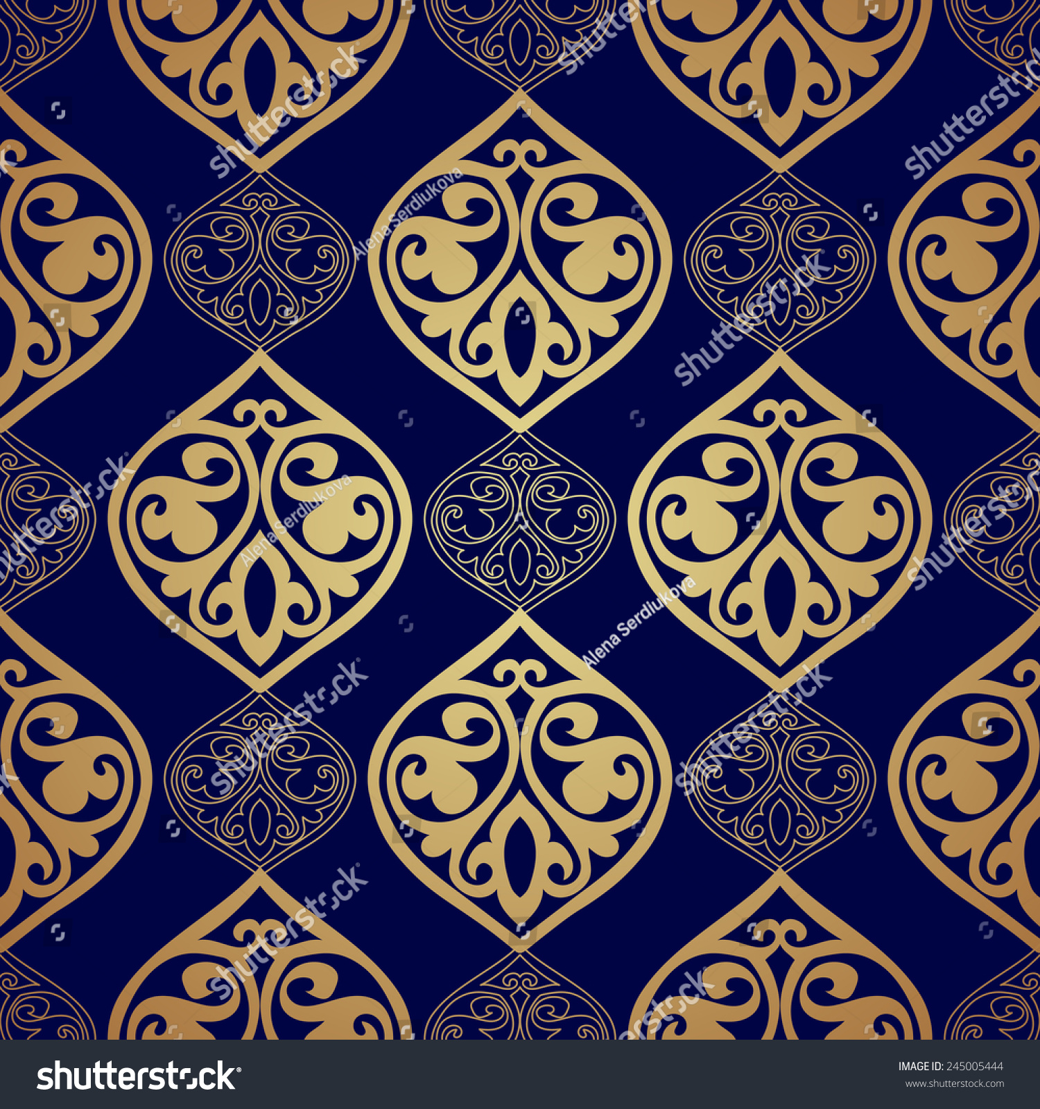 Blue Gold Luxury Damask Seamless Motif Stock Vector