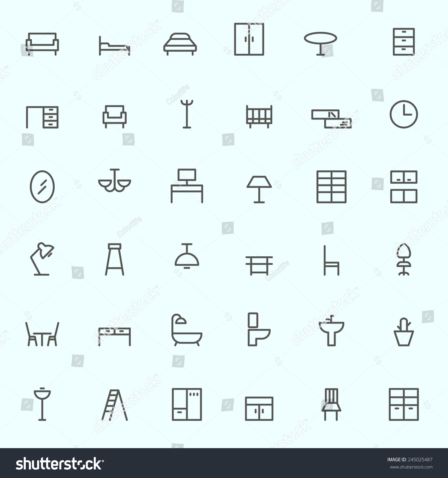 Furniture icons simple and thin line design