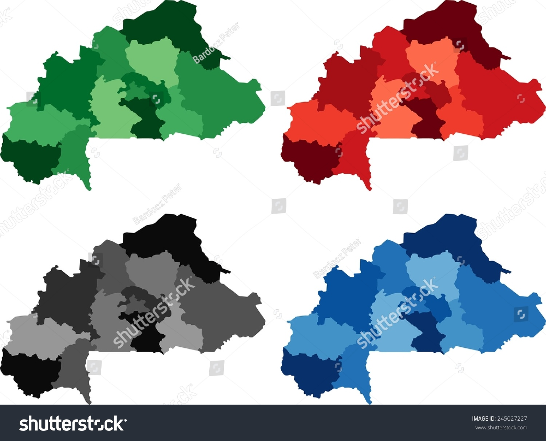 Highly Detailed Burkina Faso Political Map Stock Vector 245027227