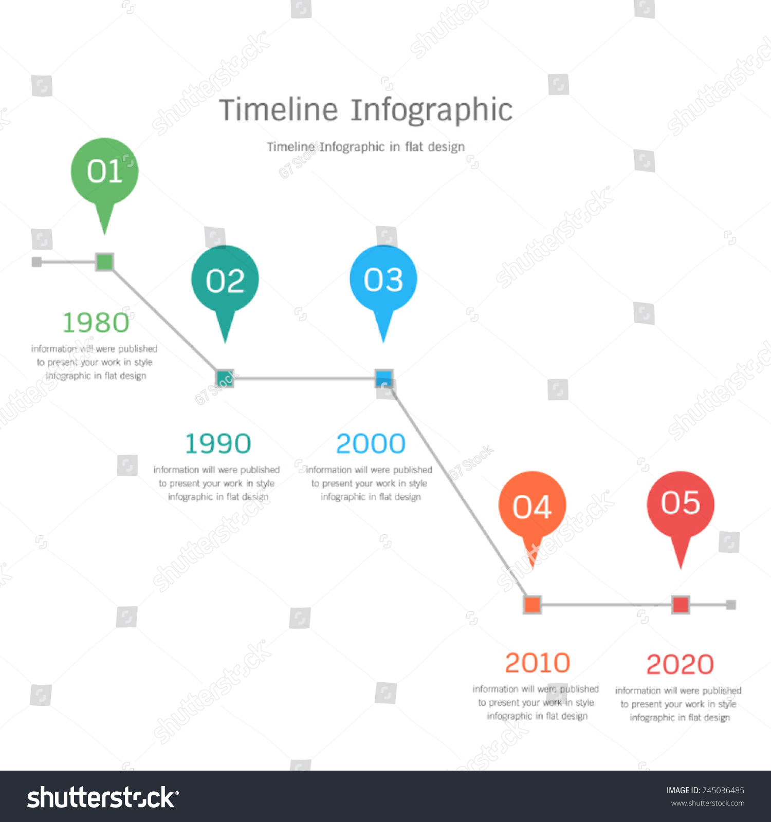 Timeline Infographic Flat Design Stock Vector 245036485 ...