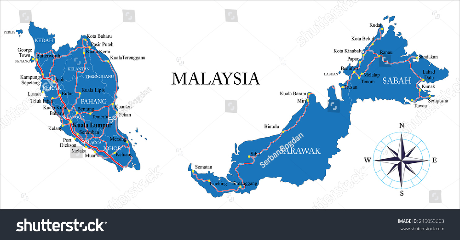 Malaysia Map Stock Vector 245053663 Shutterstock