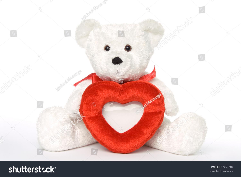 White Teddy Bear Holding Heart Shaped Stock Photo Edit Now 2450740