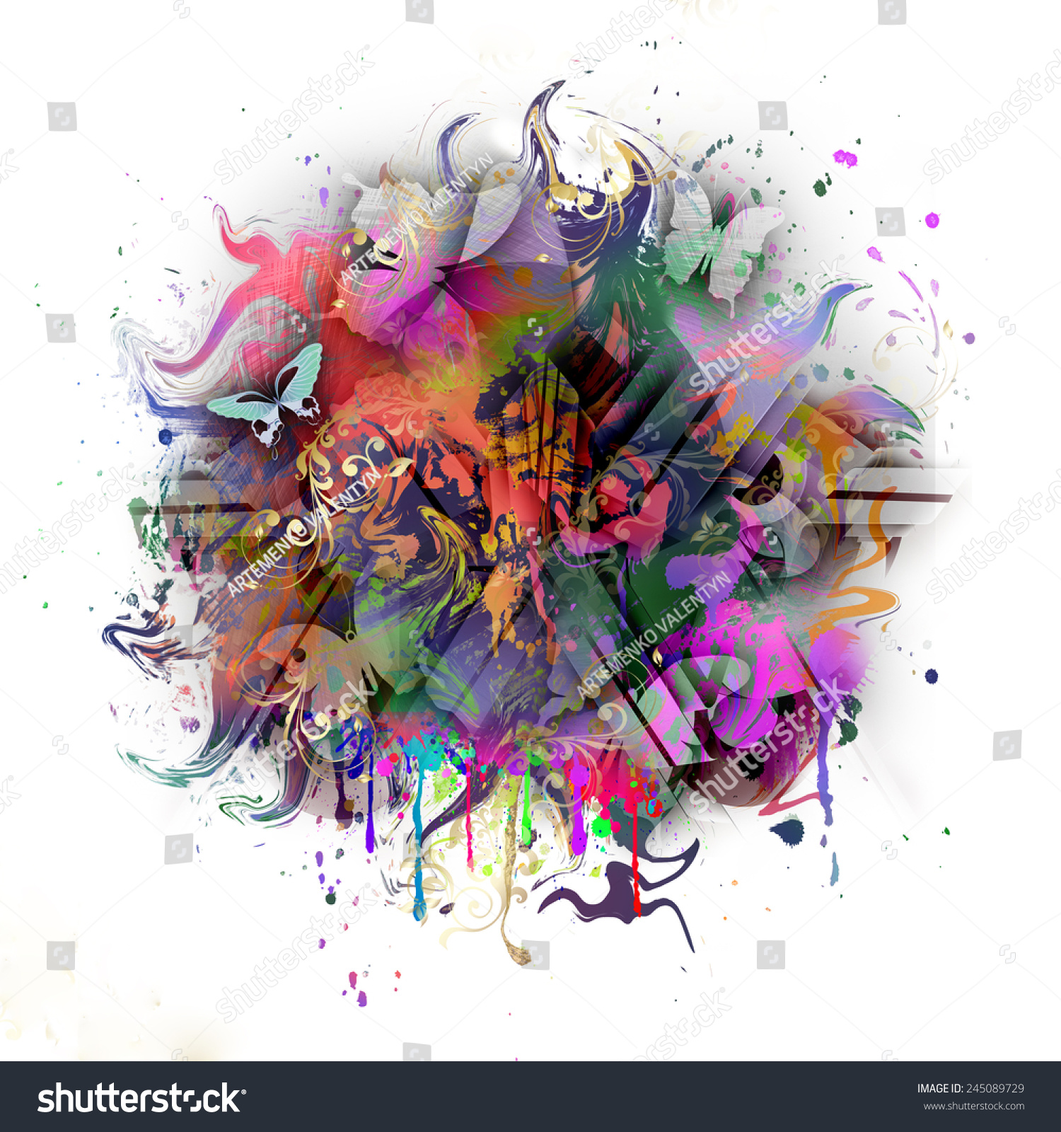 Abstract Colorful Bright Background Butterflies Stock