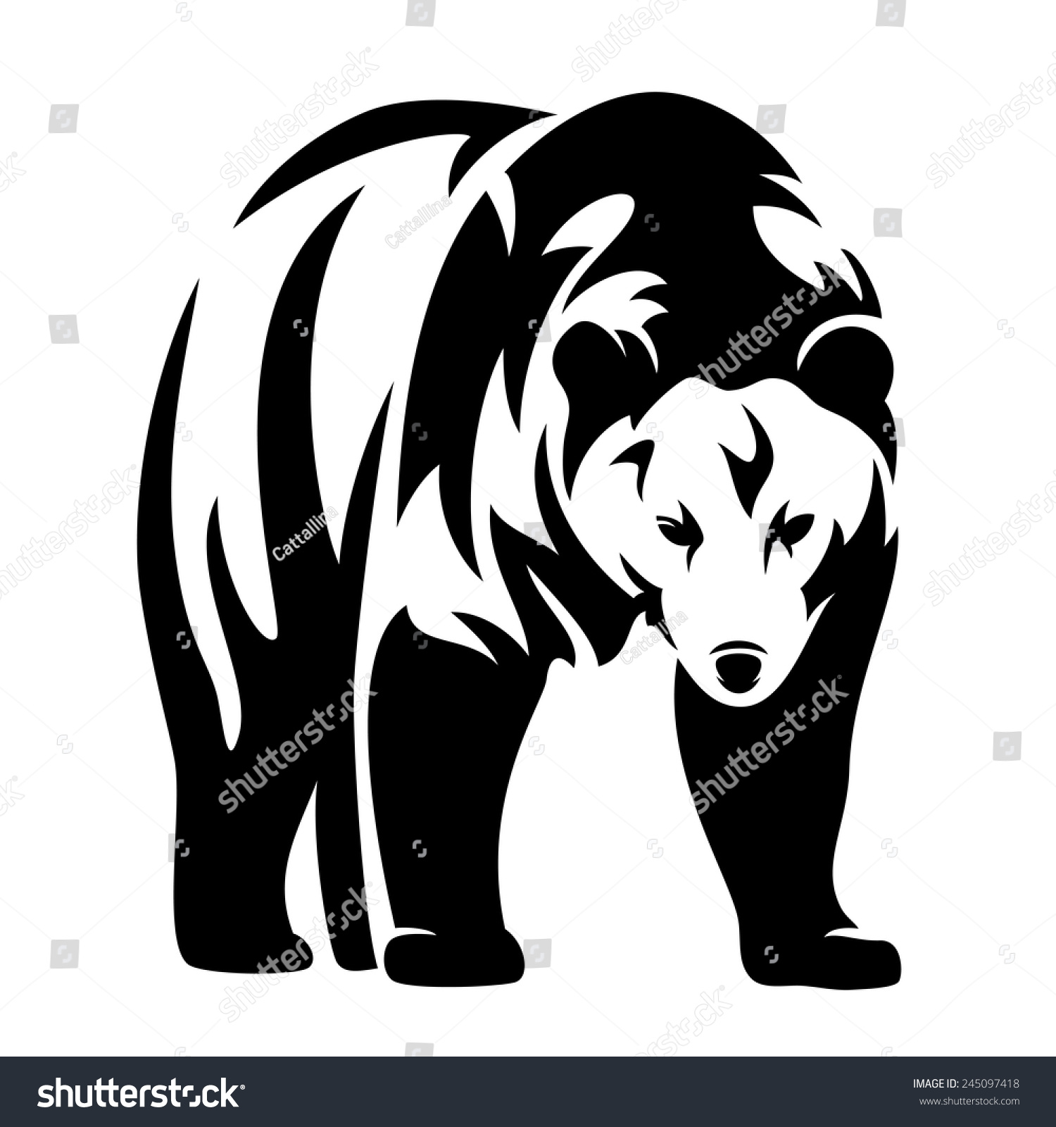 Grizzly Bear Black White Vector Design Stock Vector ... Raccoon Face Clip Art Black And White