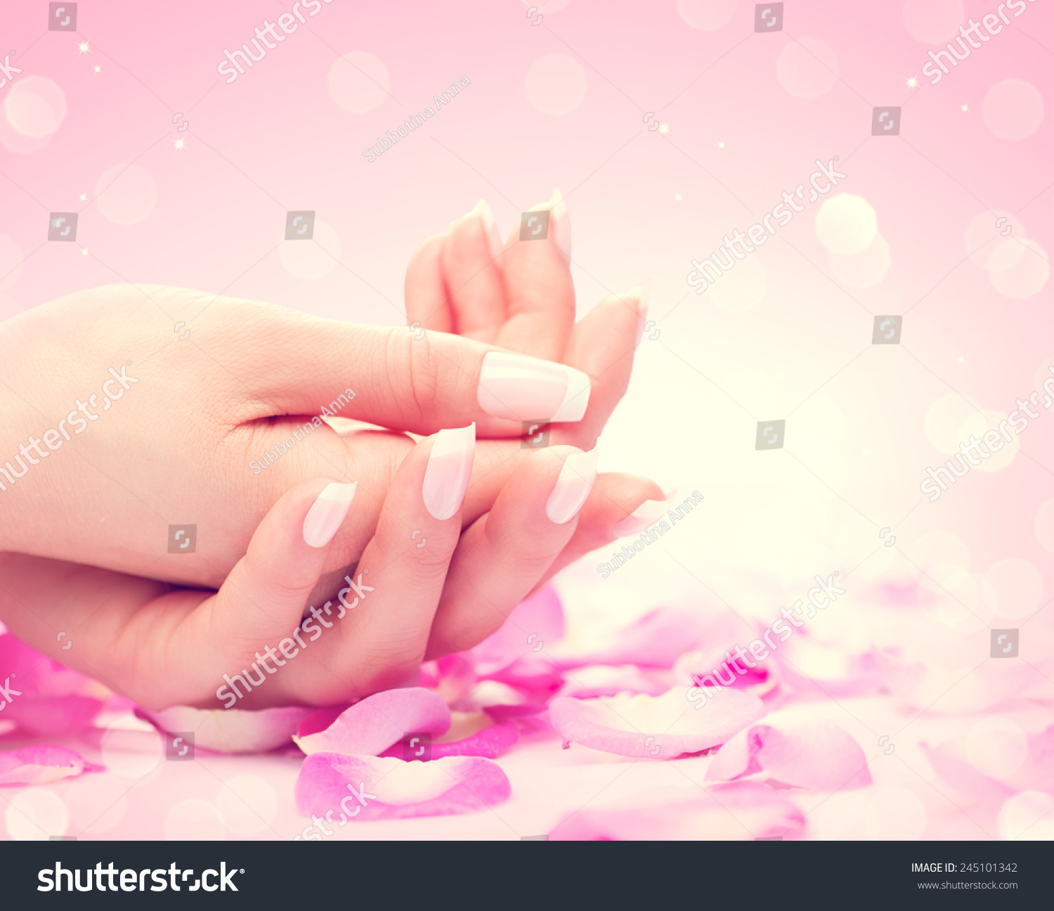 Manicure hands spa beautiful feamle hands stock photo for A trial beauty treatment salon