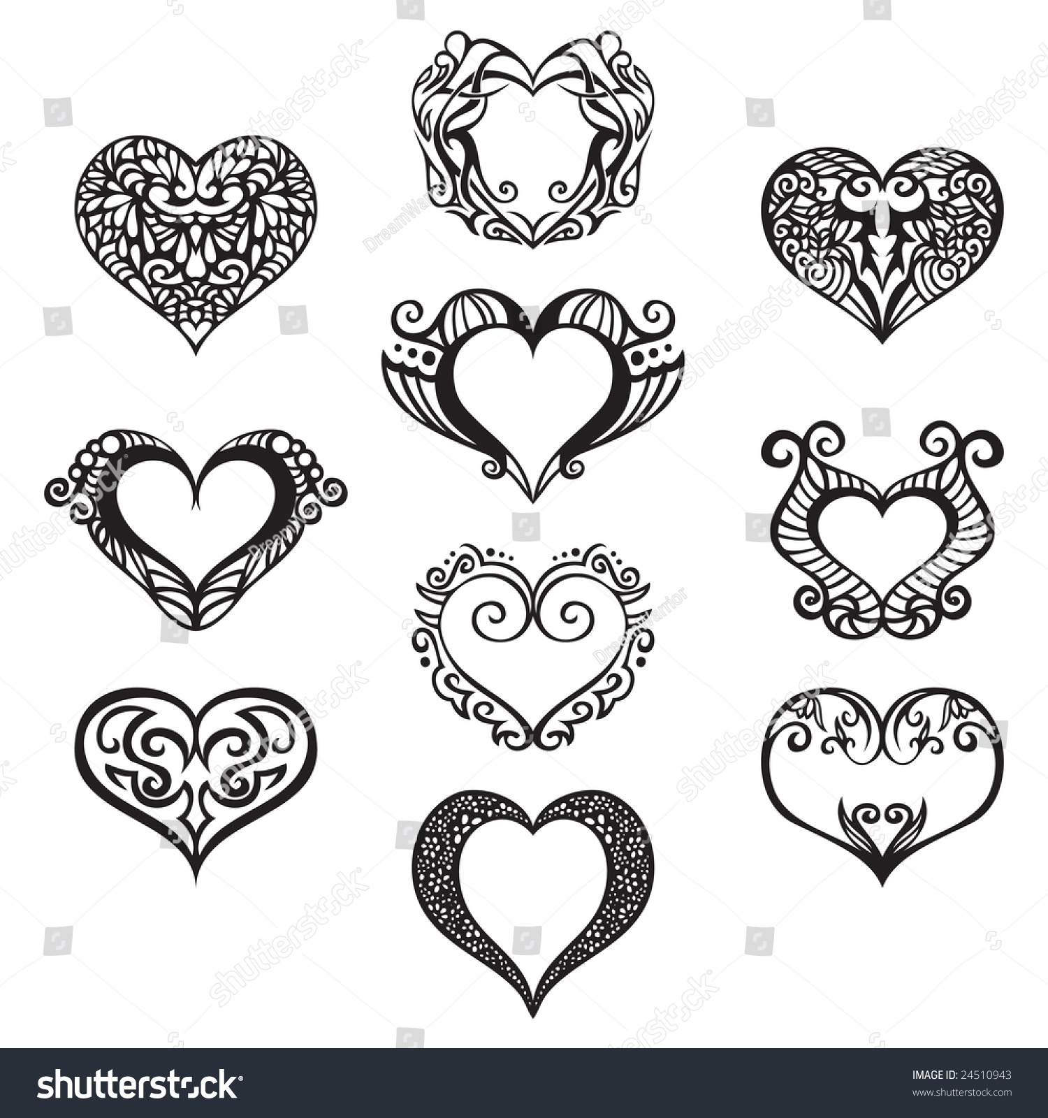 ten heart ornaments use your designs stock vector royalty free