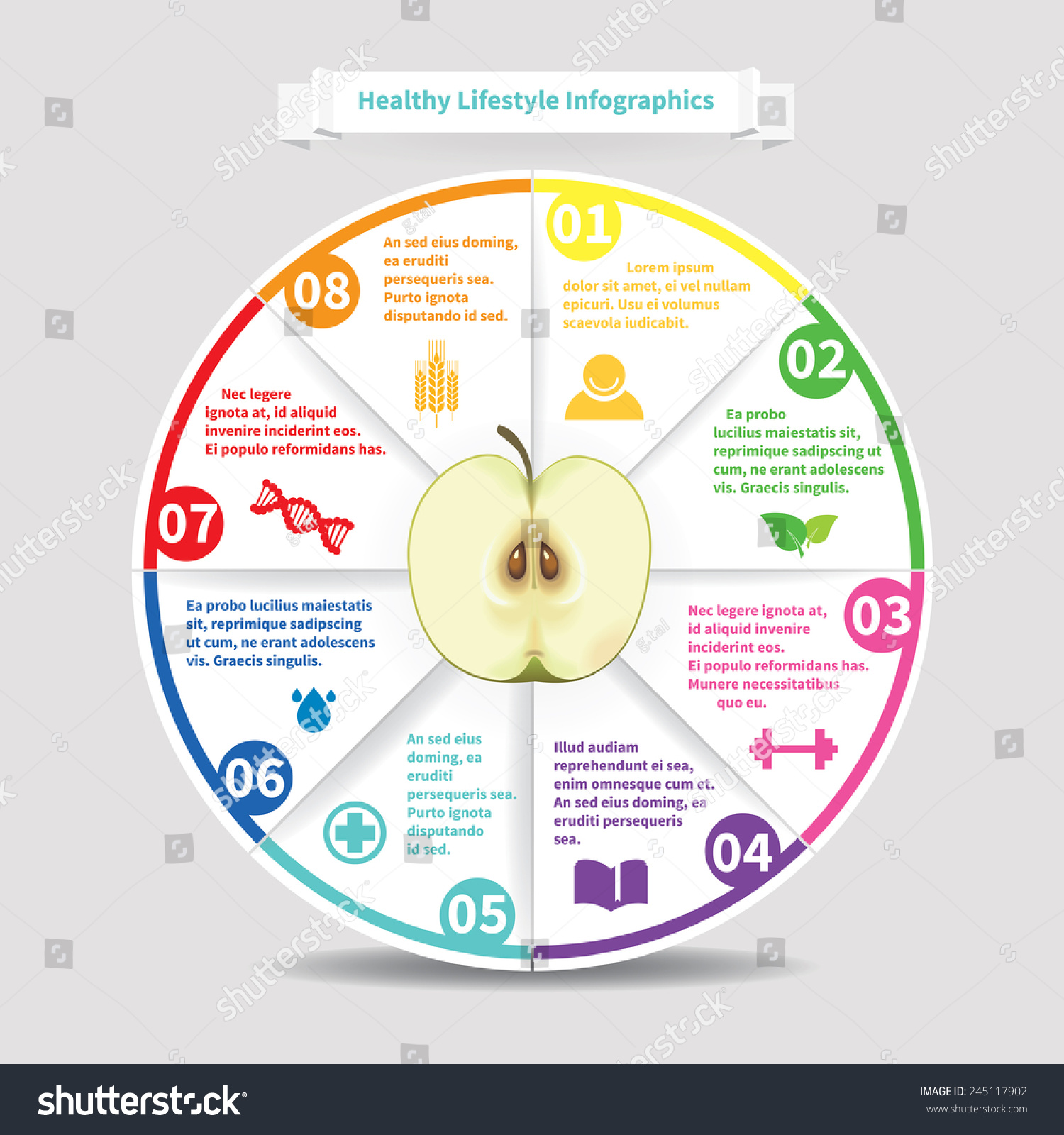 Healthy lifestyle infographics design origami pie stock vector healthy lifestyle infographics design origami pie chart with realistic apple illustration nvjuhfo Choice Image
