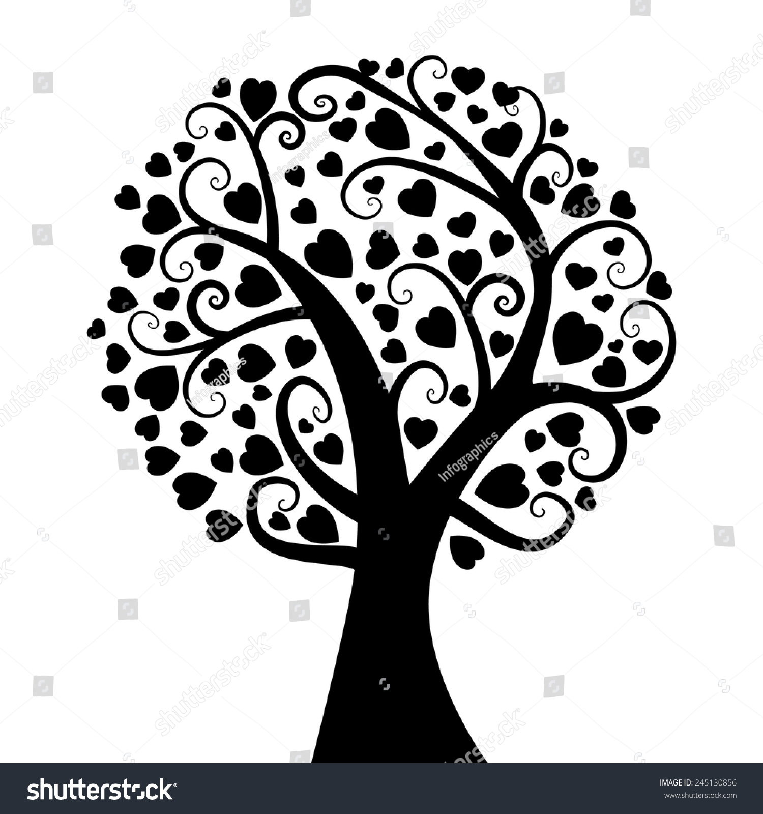 Wedding Tree Vector: Valentine'S Day Tree With Heart. Card, Love