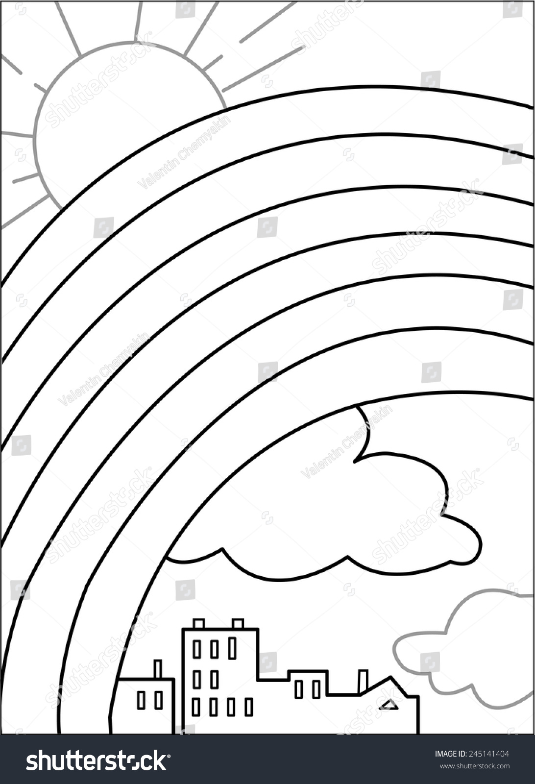 rainbow in the sky huge rainbow in the sky sun clouds and houses hot air balloon coloring pages - Coloring Page Rainbow Clouds