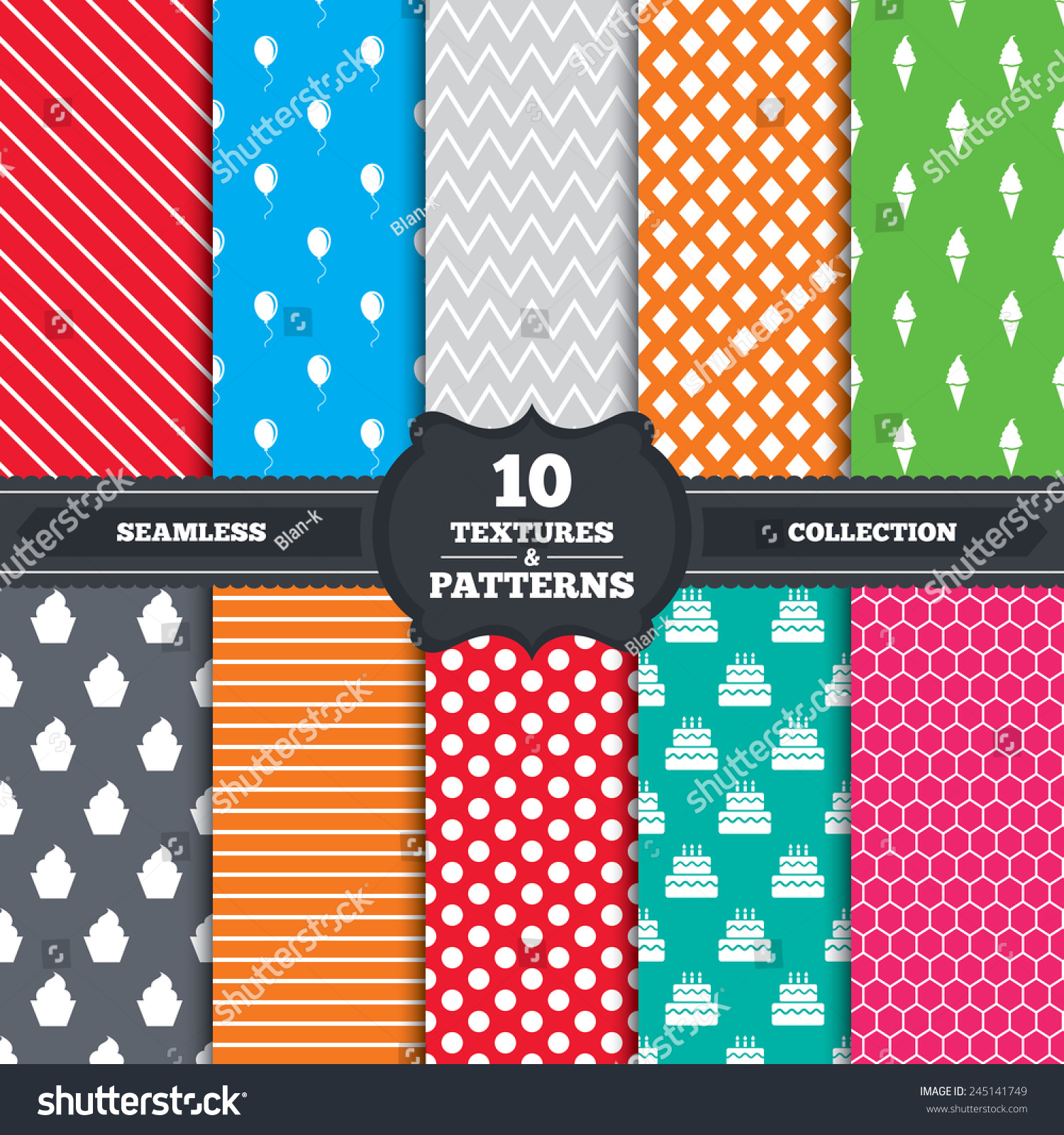 Seamless Wallpaper Pattern With Ice Cream Icons Stock: Seamless Patterns And Textures. Birthday Party Icons. Cake