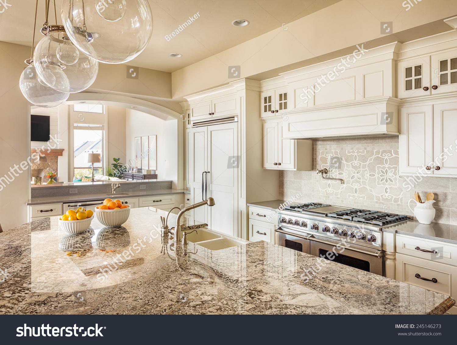 For New Kitchens Beautiful New Kitchen Interior Island Sink Stock Photo 245146273