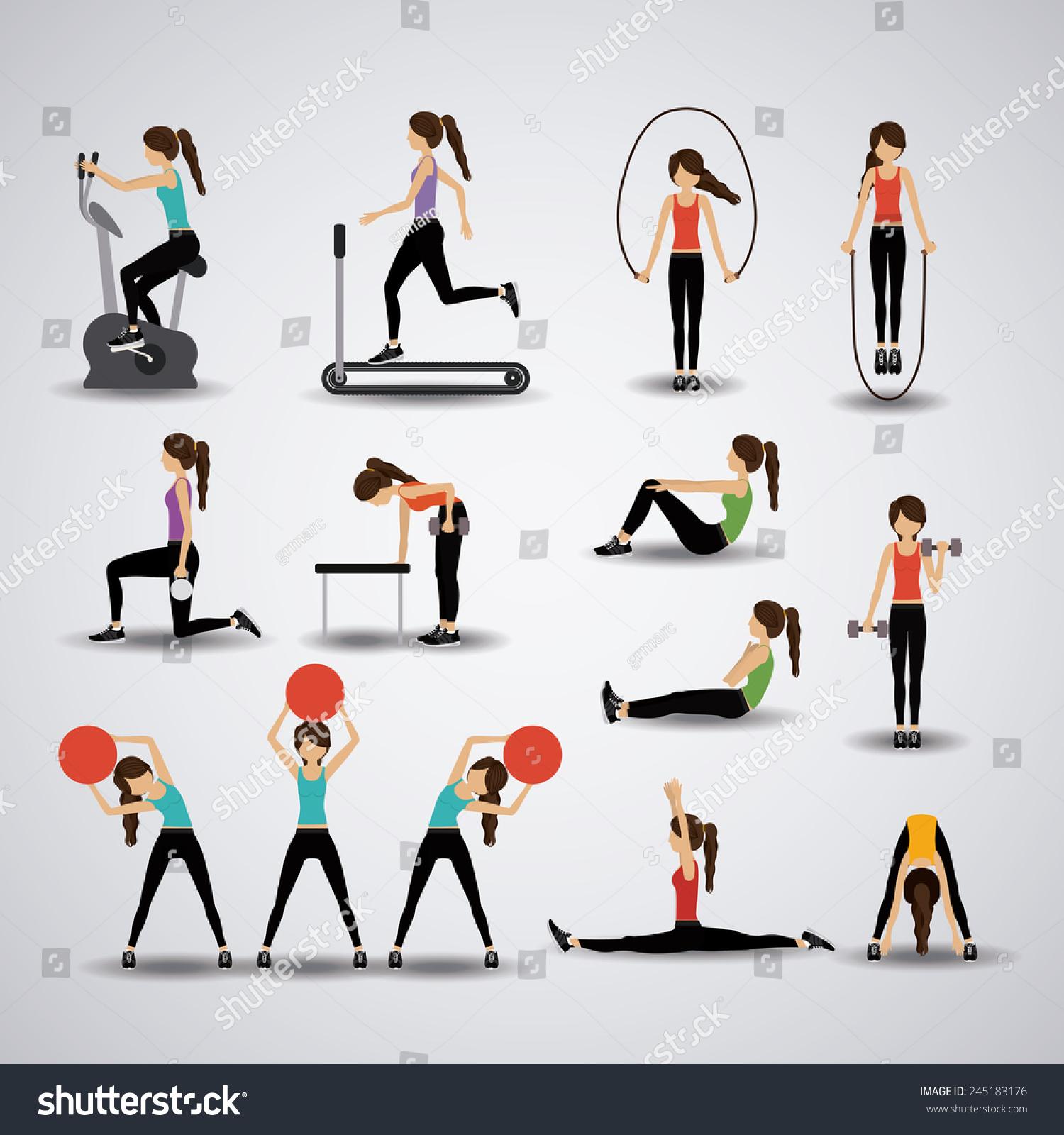 Fitness Design Over Gray Background Vector Stock Vector 245183176 ... for Physical Fitness Design  131fsj