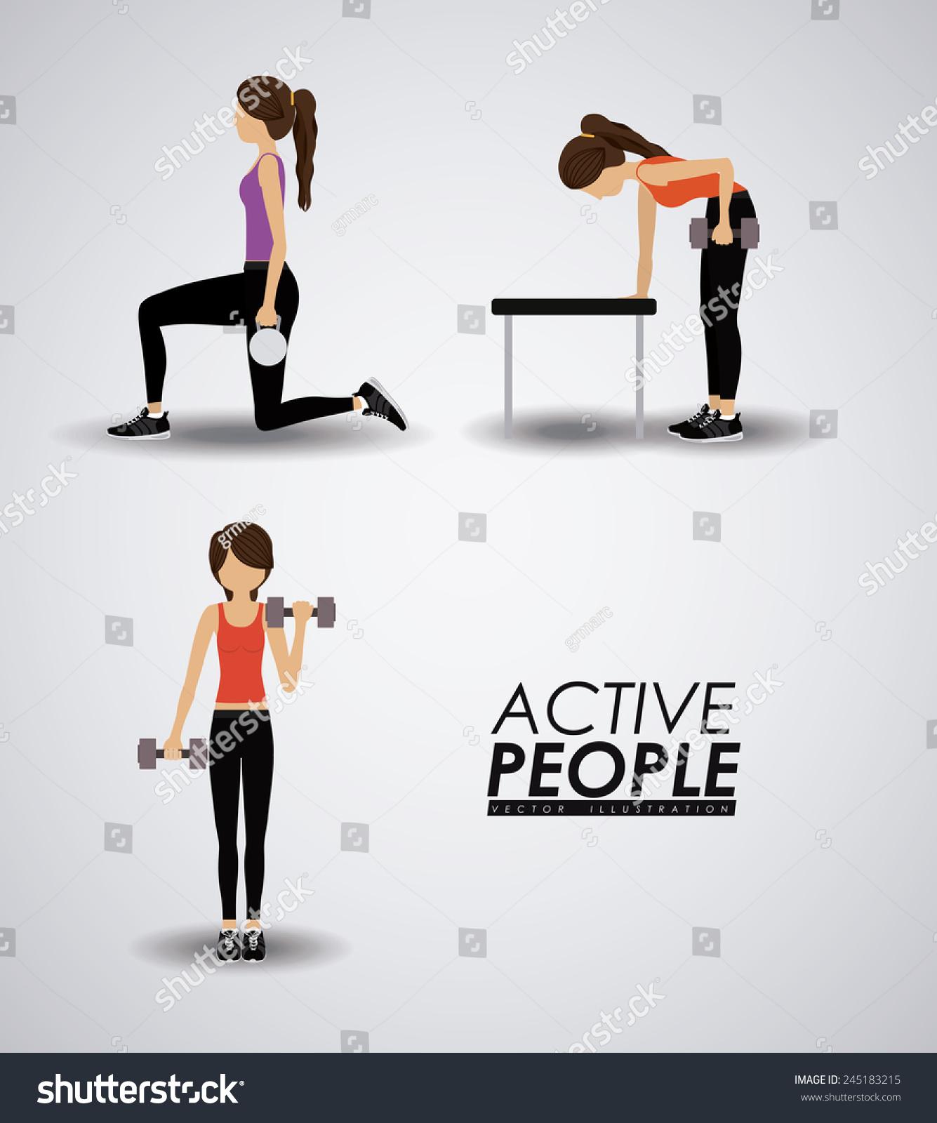 Fitness Design Over Gray Background Vector Stock Vector 245183215 ... for Physical Fitness Design  56bof