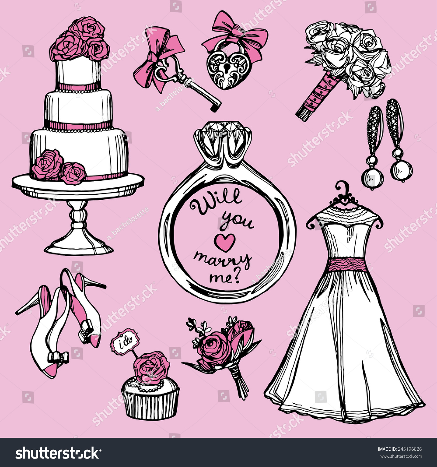 Hand Drawn Pink White Doodle Wedding Stock Vector HD (Royalty Free ...