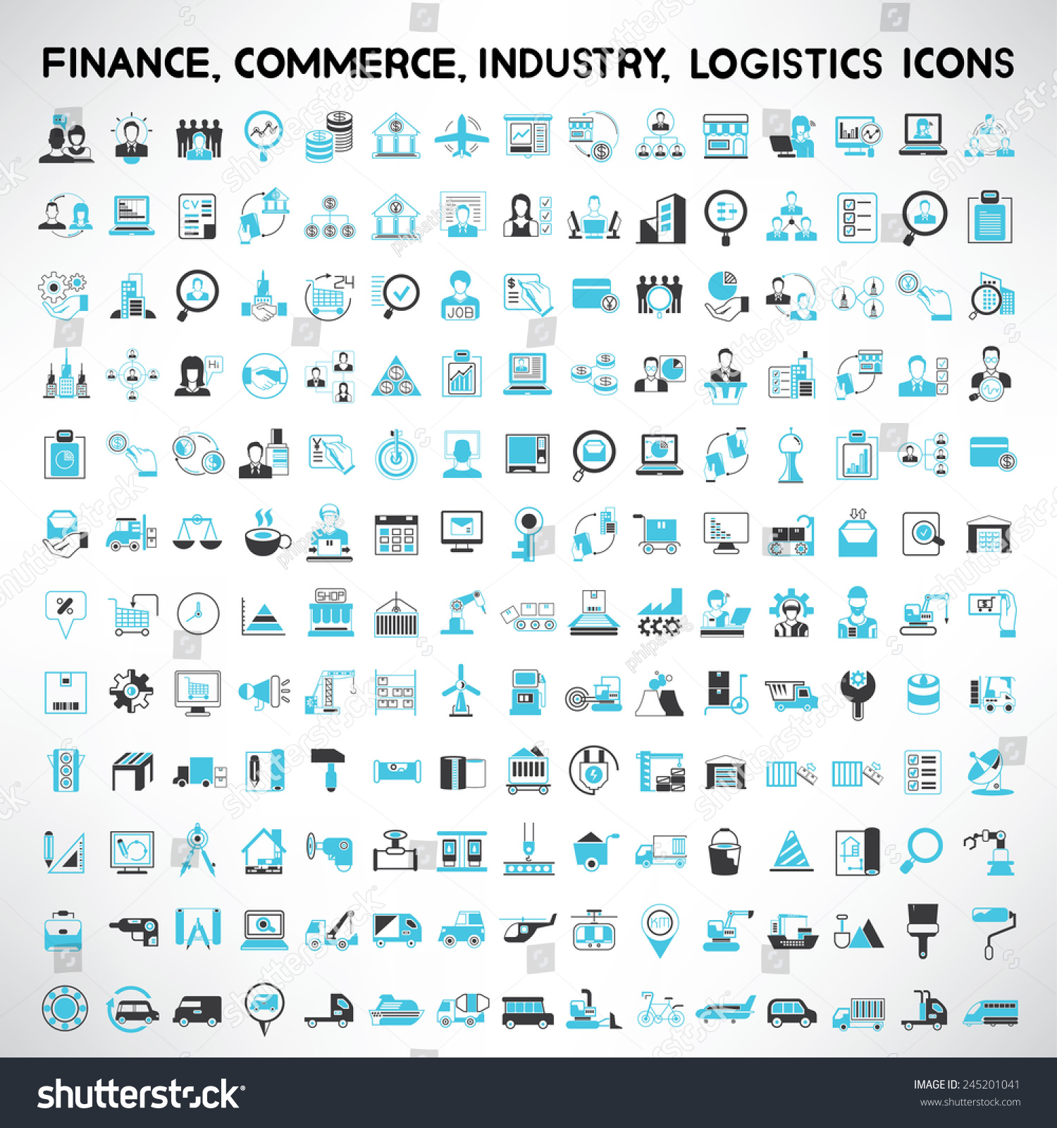 industry icons, finance icons, commerce icons, logistics and shipping icons set #245201041