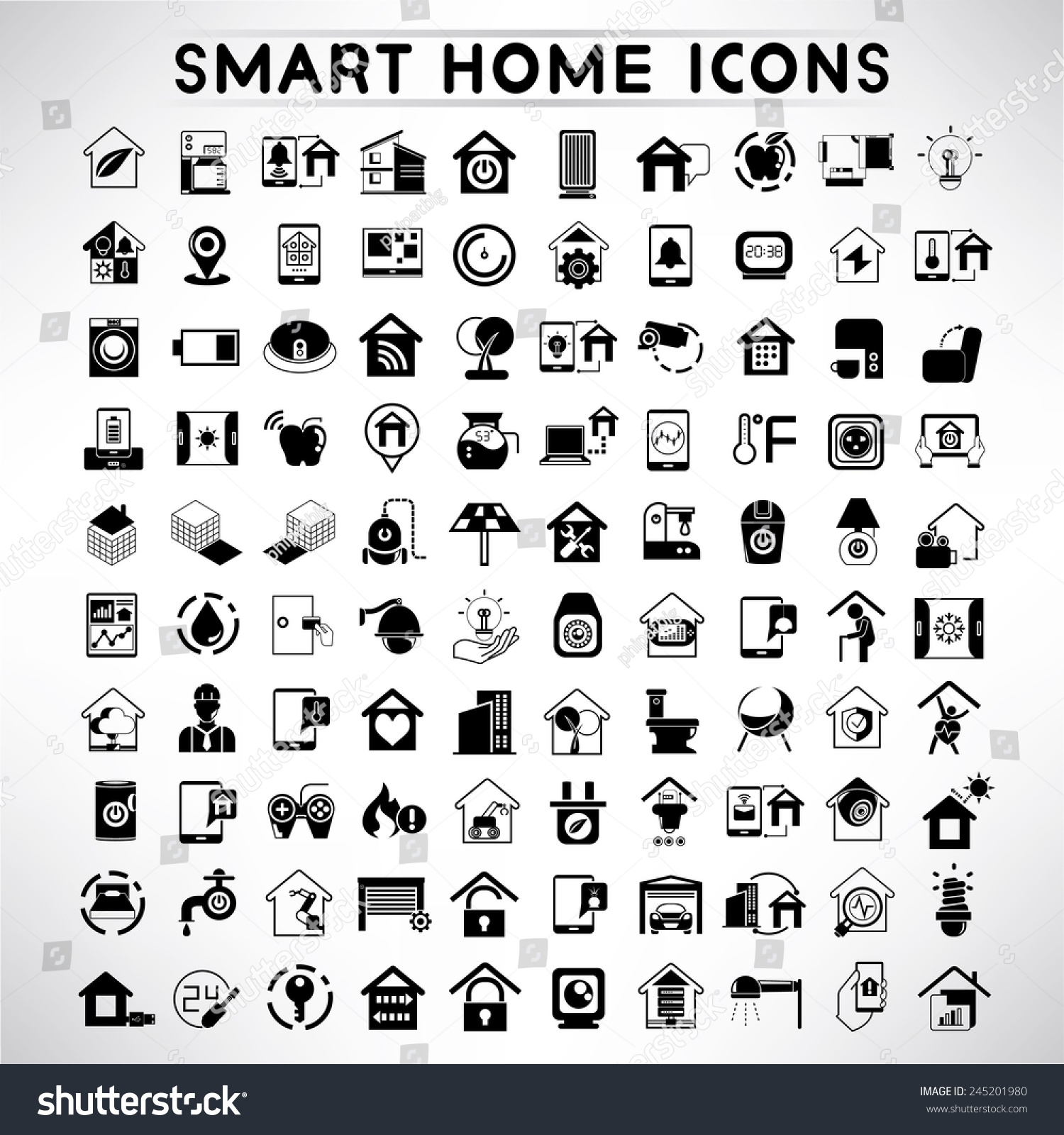 smart home icons set home automation stock vector 245201980 shutterstock. Black Bedroom Furniture Sets. Home Design Ideas